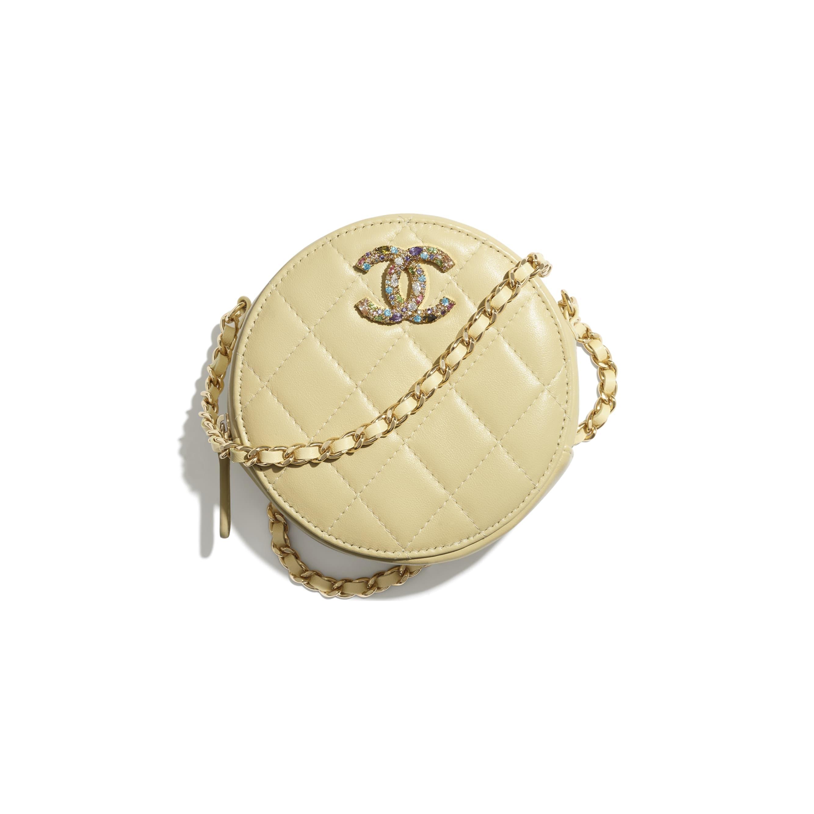 Clutch Com Corrente - Amarelo - Pele de cordeiro, zircónio & metal dourado - CHANEL - Vista predefinida - ver a versão em tamanho standard