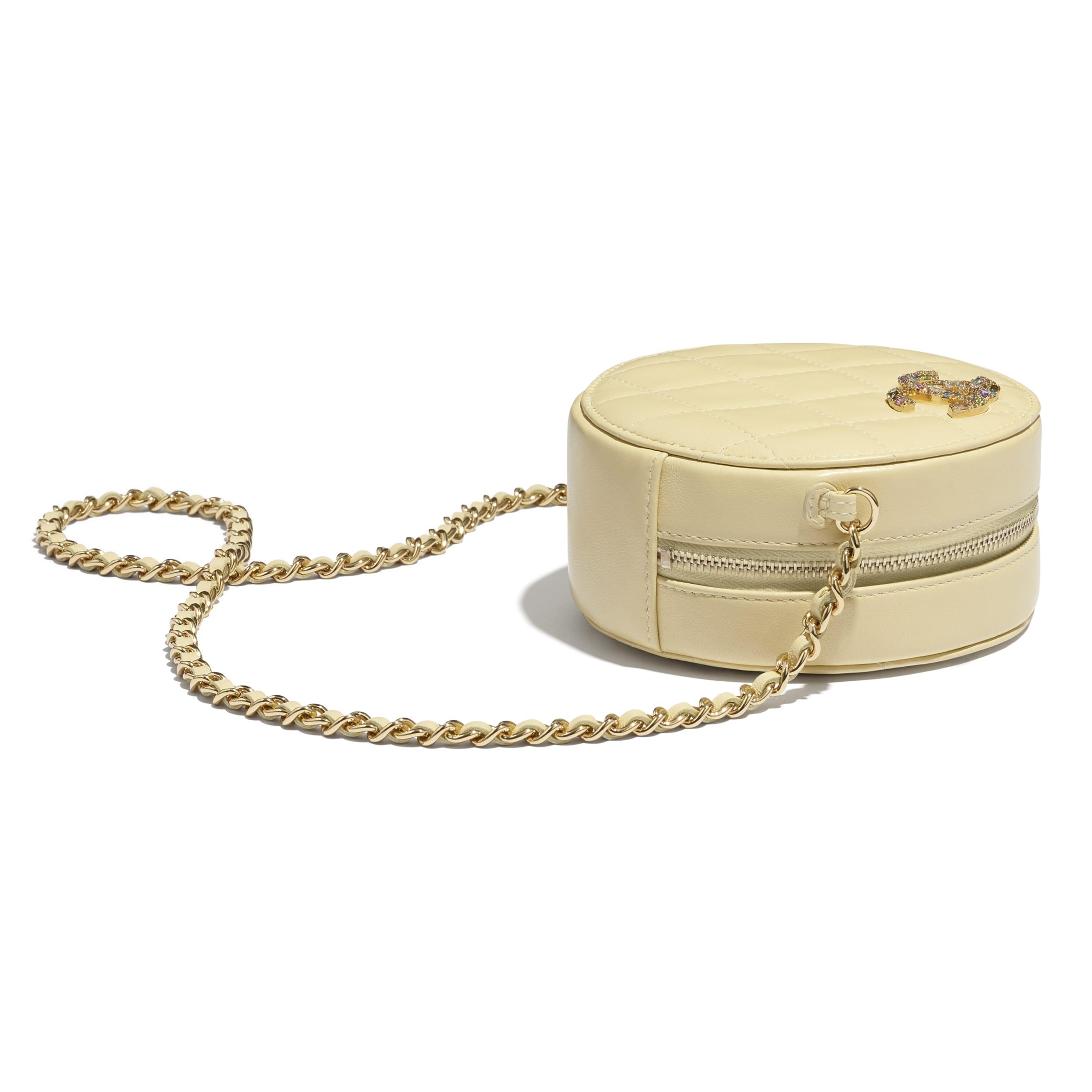 Clutch Com Corrente - Amarelo - Pele de cordeiro, zircónio & metal dourado - CHANEL - Vista extra - ver a versão em tamanho standard