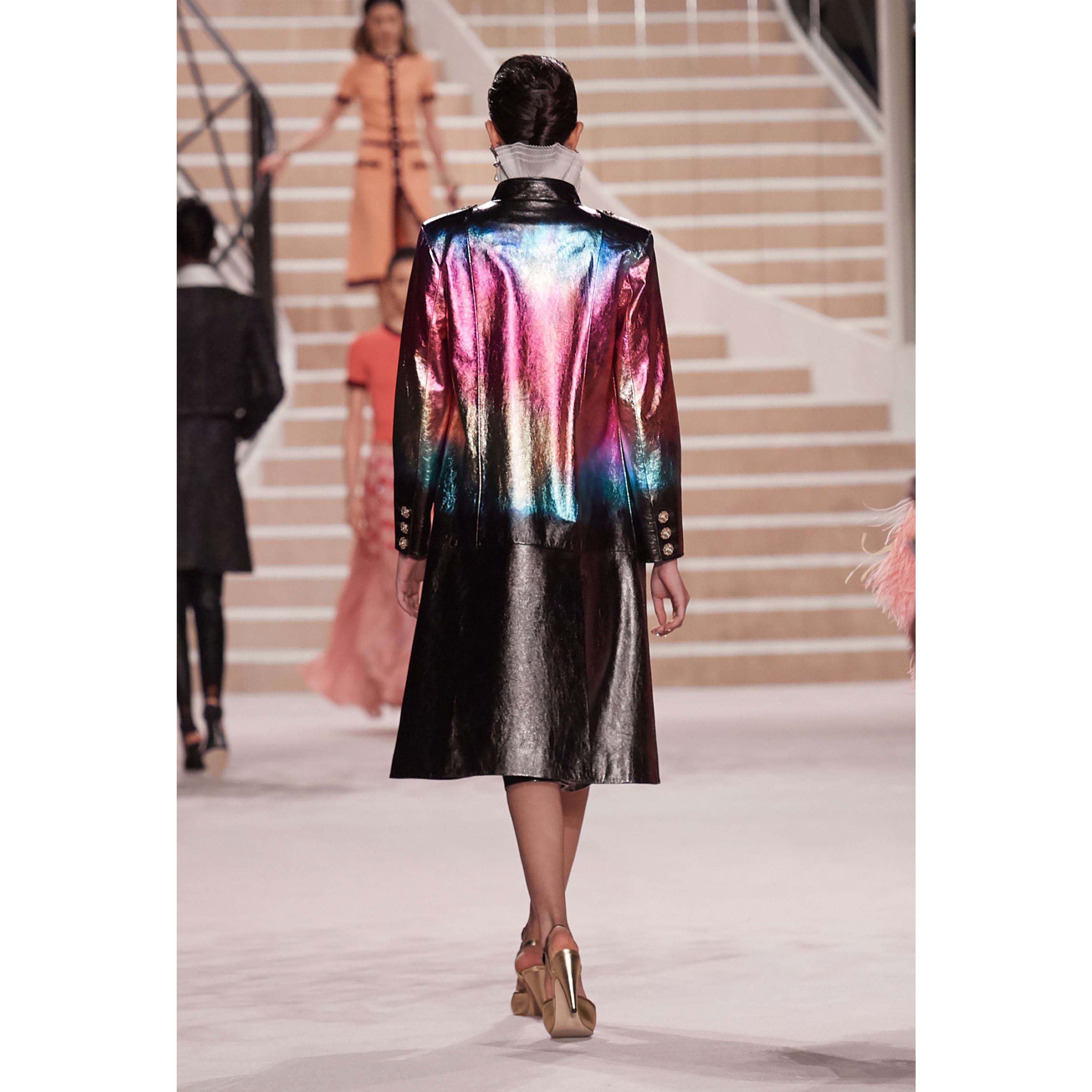 Coat - Black, Pink, Blue & Gold - Lambskin - CHANEL - Alternative view - see standard sized version