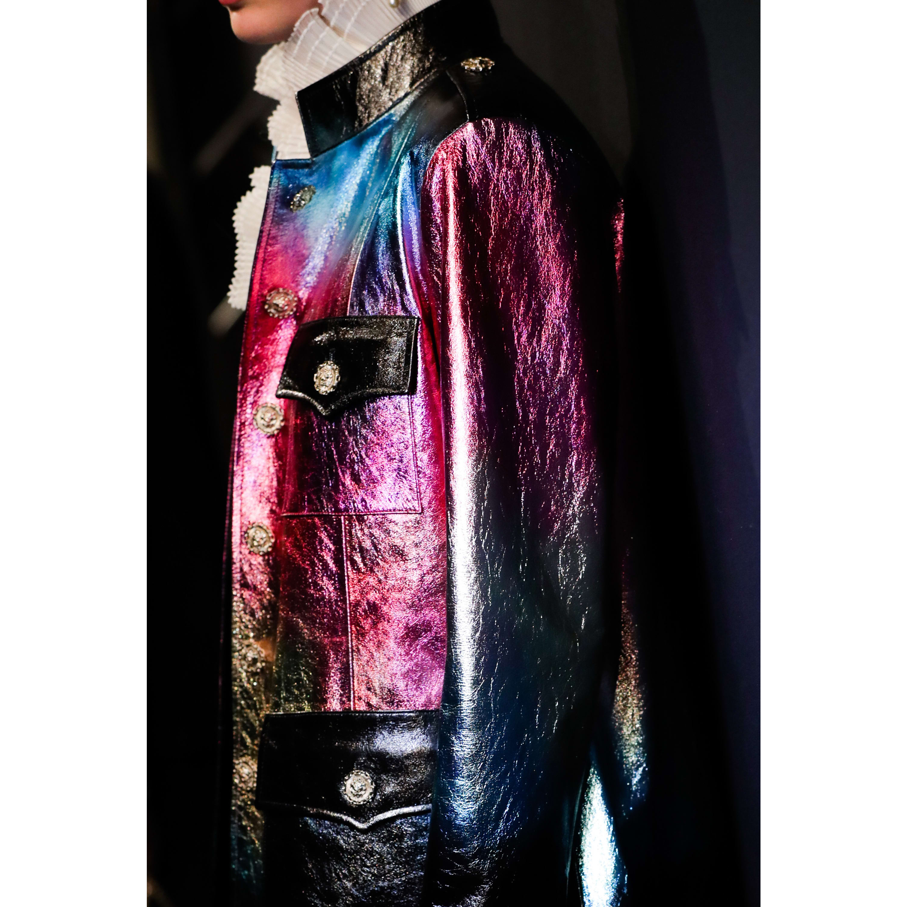 Coat - Black, Pink, Blue & Gold - Lambskin - CHANEL - Other view - see standard sized version