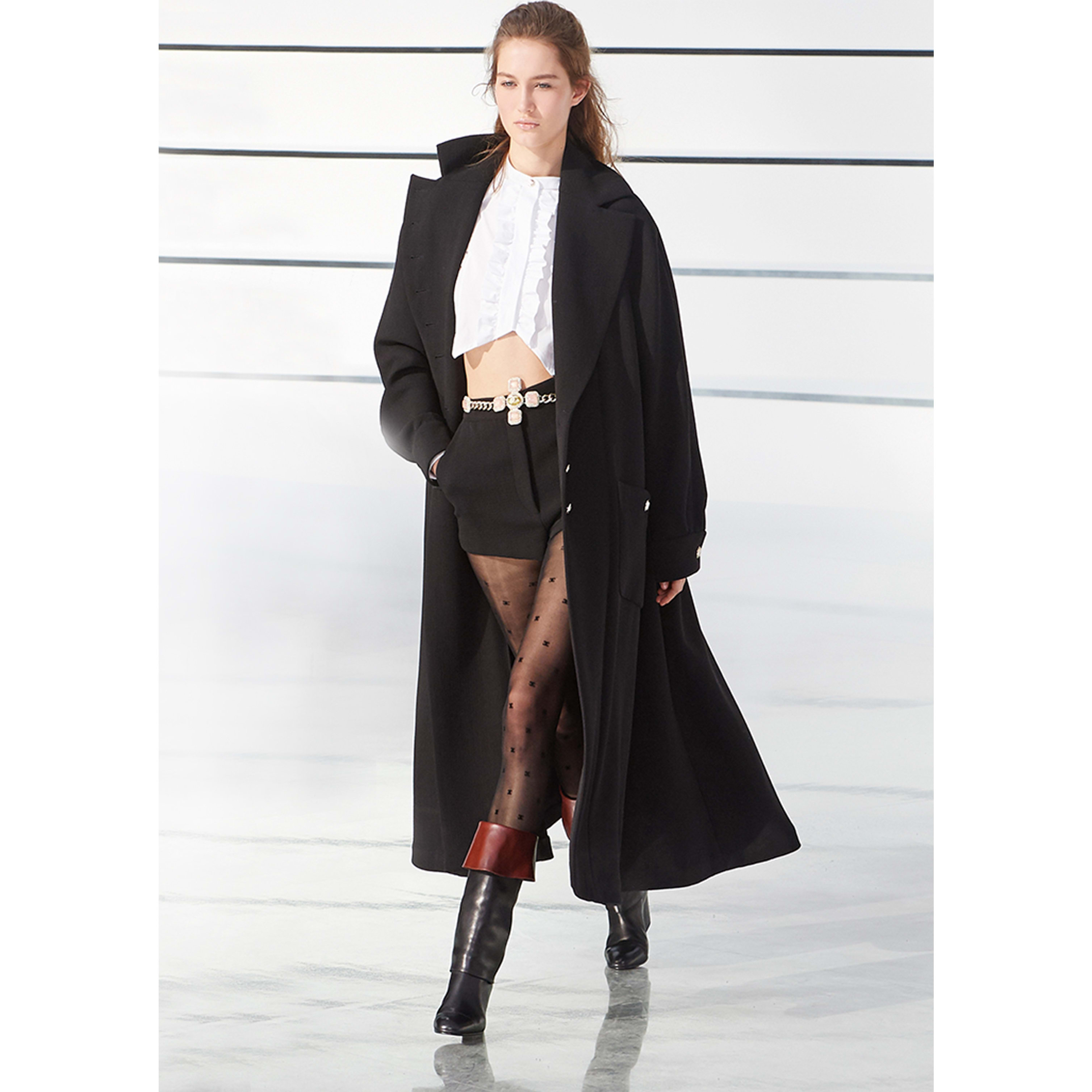 Coat - Black - Wool Crepe - CHANEL - Default view - see standard sized version