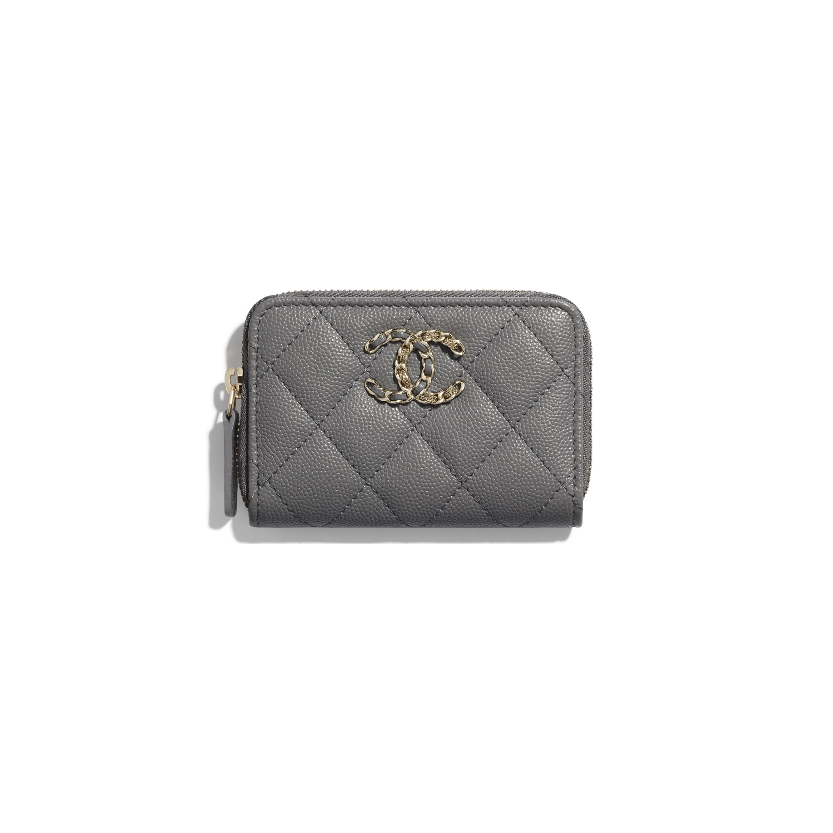 Coin Purse - Grey - Grained Calfskin & Gold-Tone Metal - CHANEL - Default view - see standard sized version