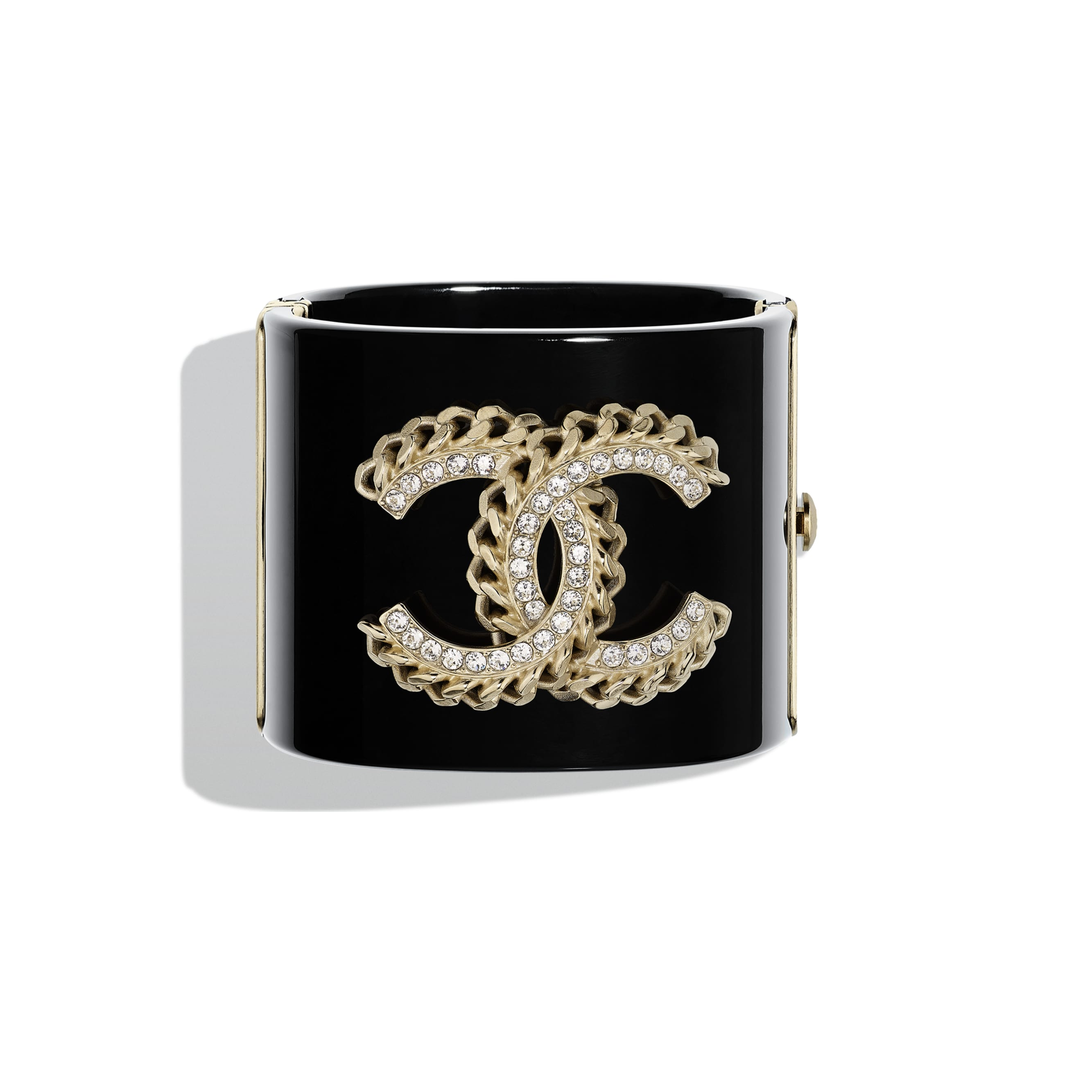 Cuff - Black, Crystal & Gold - Resin, Strass & Metal - CHANEL - Default view - see standard sized version