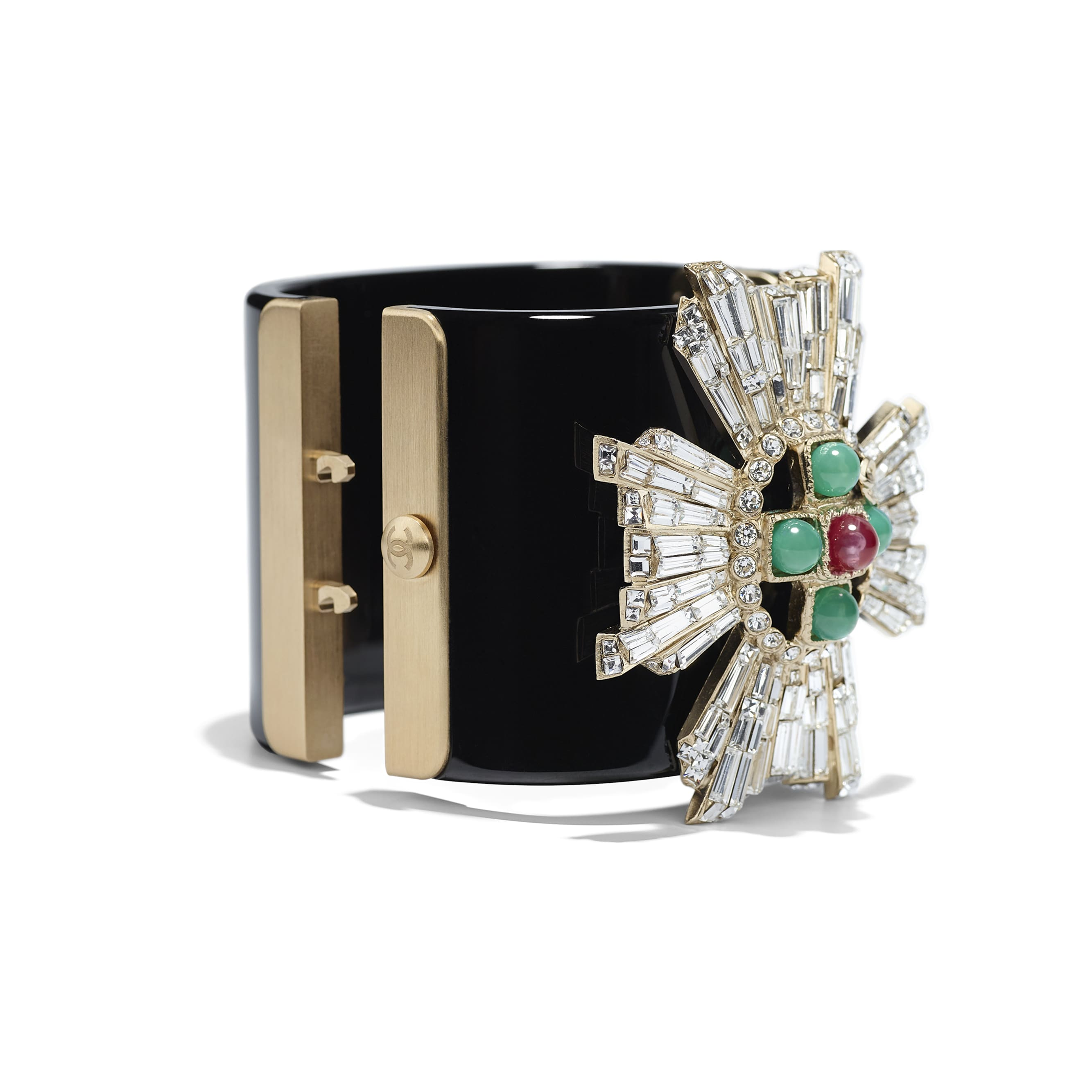 Cuff - Black, Green, Pink, Crystal & Gold - Resin, Glass Pearls, Diamanté & Metal - CHANEL - Alternative view - see standard sized version