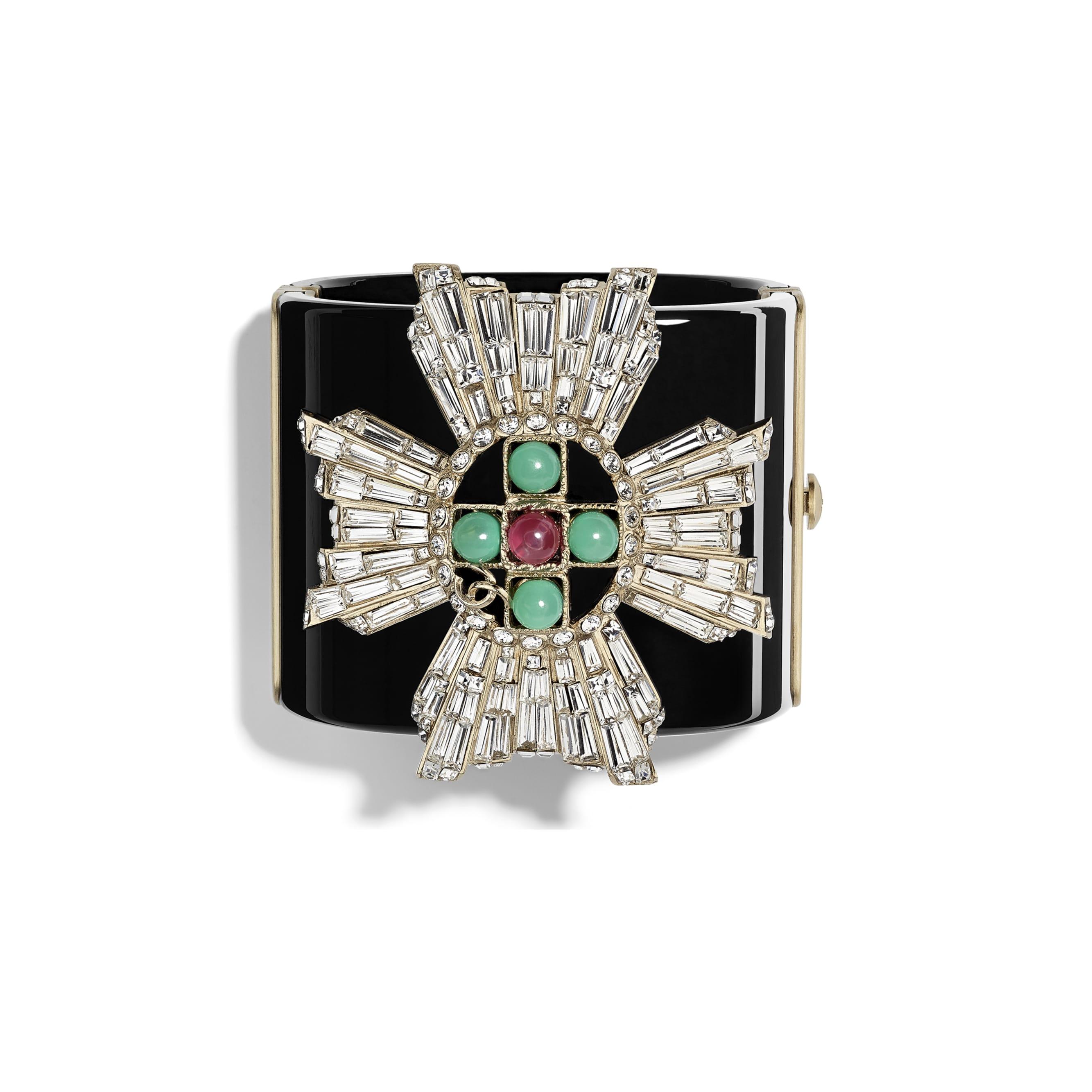 寬手鐲 - 黑、綠、粉紅、水晶 & 金 - 高級樹脂、琉璃珠、水鑽 & 金屬 - 預設視圖 - 查看標準尺寸版本
