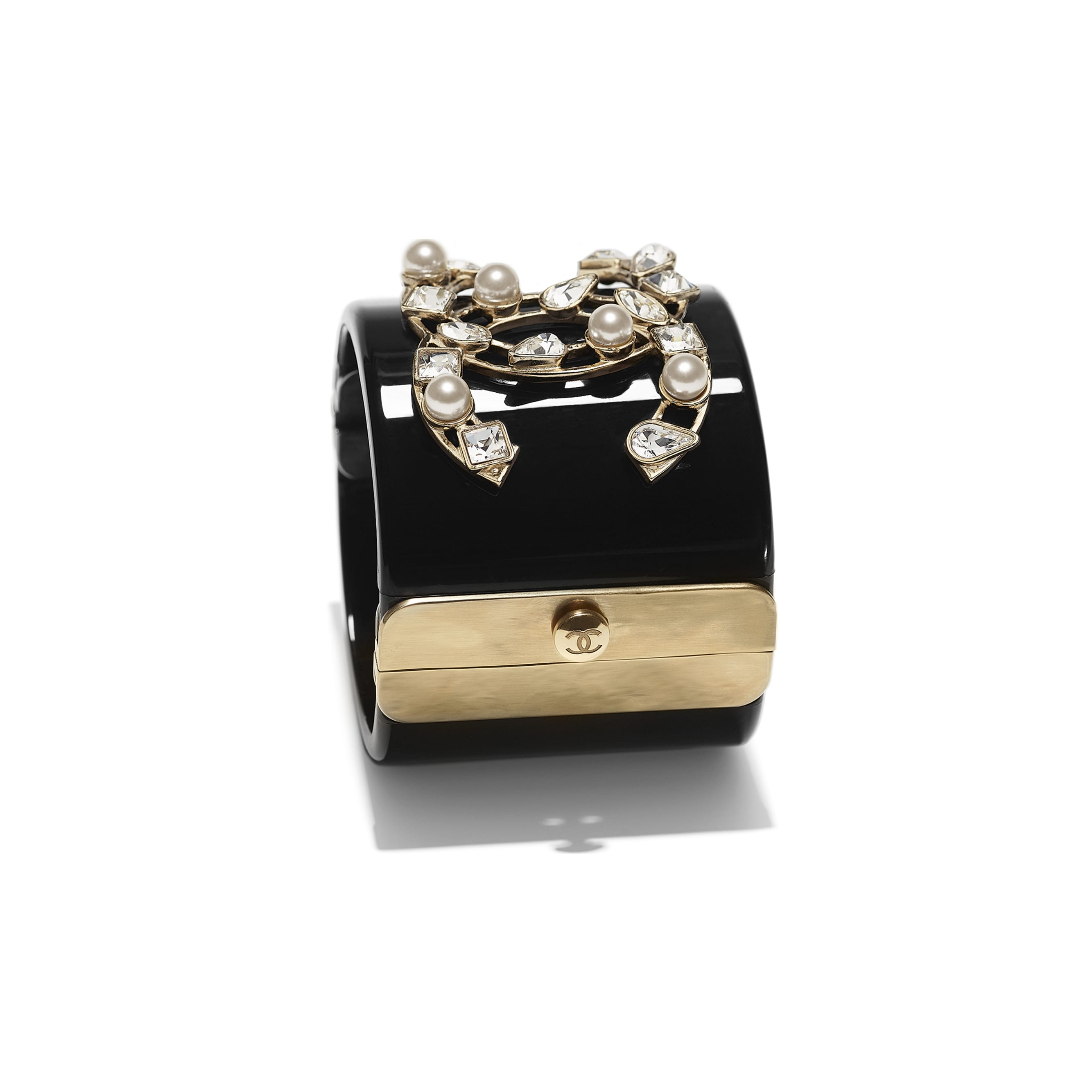 Cuff - Black, Pearly White, Crystal & Gold - Resin, Glass Pearls, Diamanté & Metal - Alternative view - see standard sized version