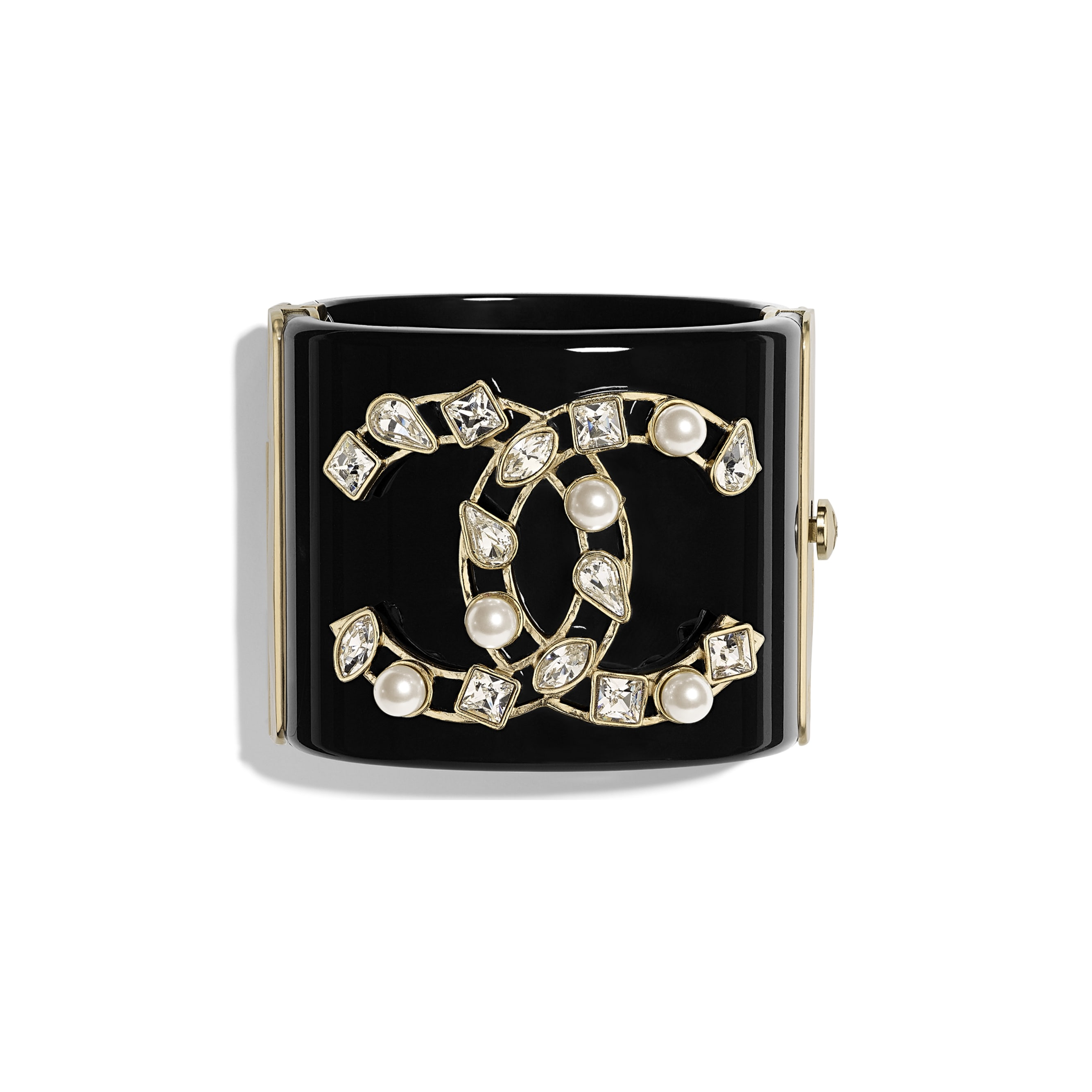 Cuff - Black, Pearly White, Crystal & Gold - Resin, Glass Pearls, Diamanté & Metal - Default view - see standard sized version