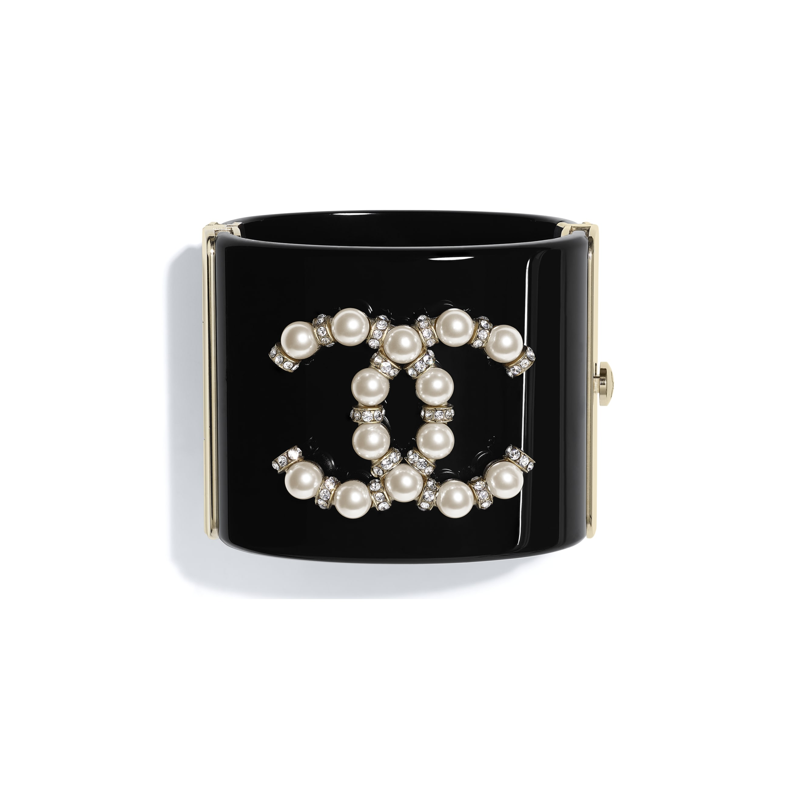 Cuff - Black, Pearly White, Crystal & Gold - Resin, Glass Pearls, Diamanté & Metal - CHANEL - Default view - see standard sized version