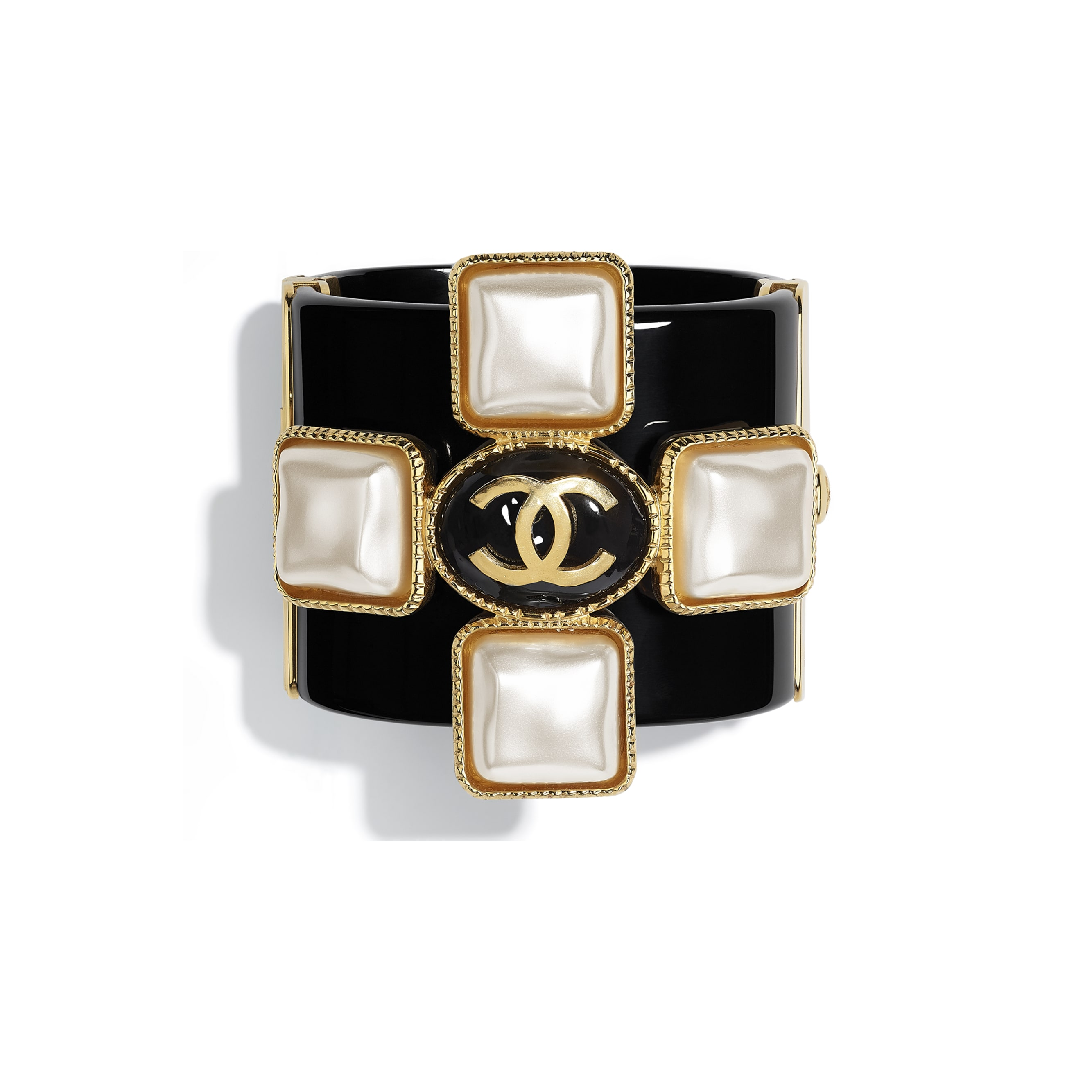 Cuff -  Black, Pearly White & Gold - Resin & Metal - CHANEL - Default view - see standard sized version