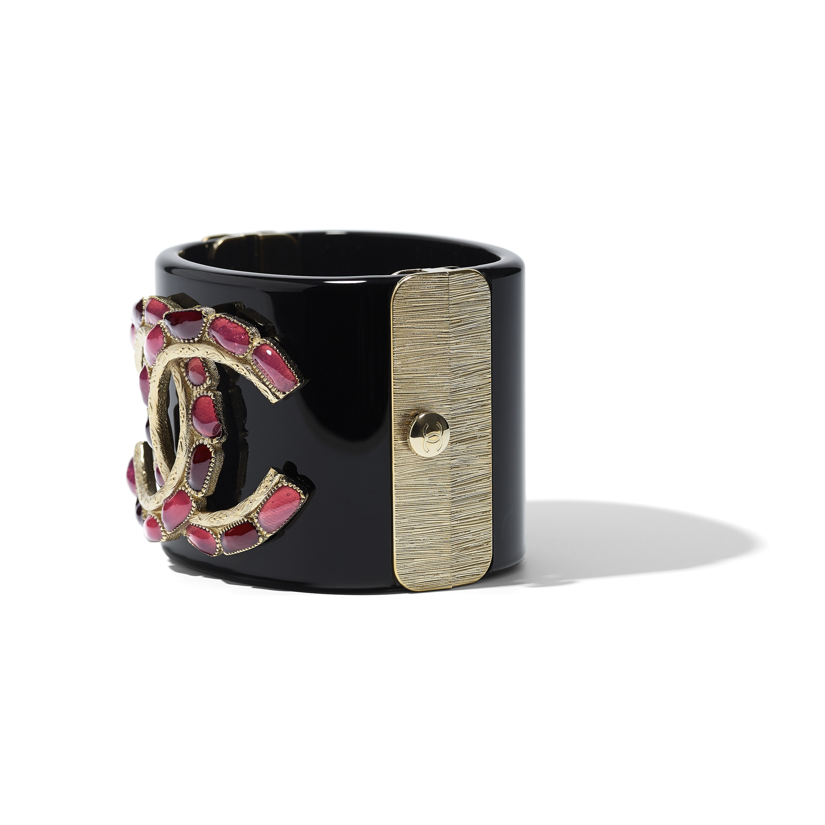 Cuff - Black, Red, Pink & Gold - Resin & Metal - Alternative view - see standard sized version