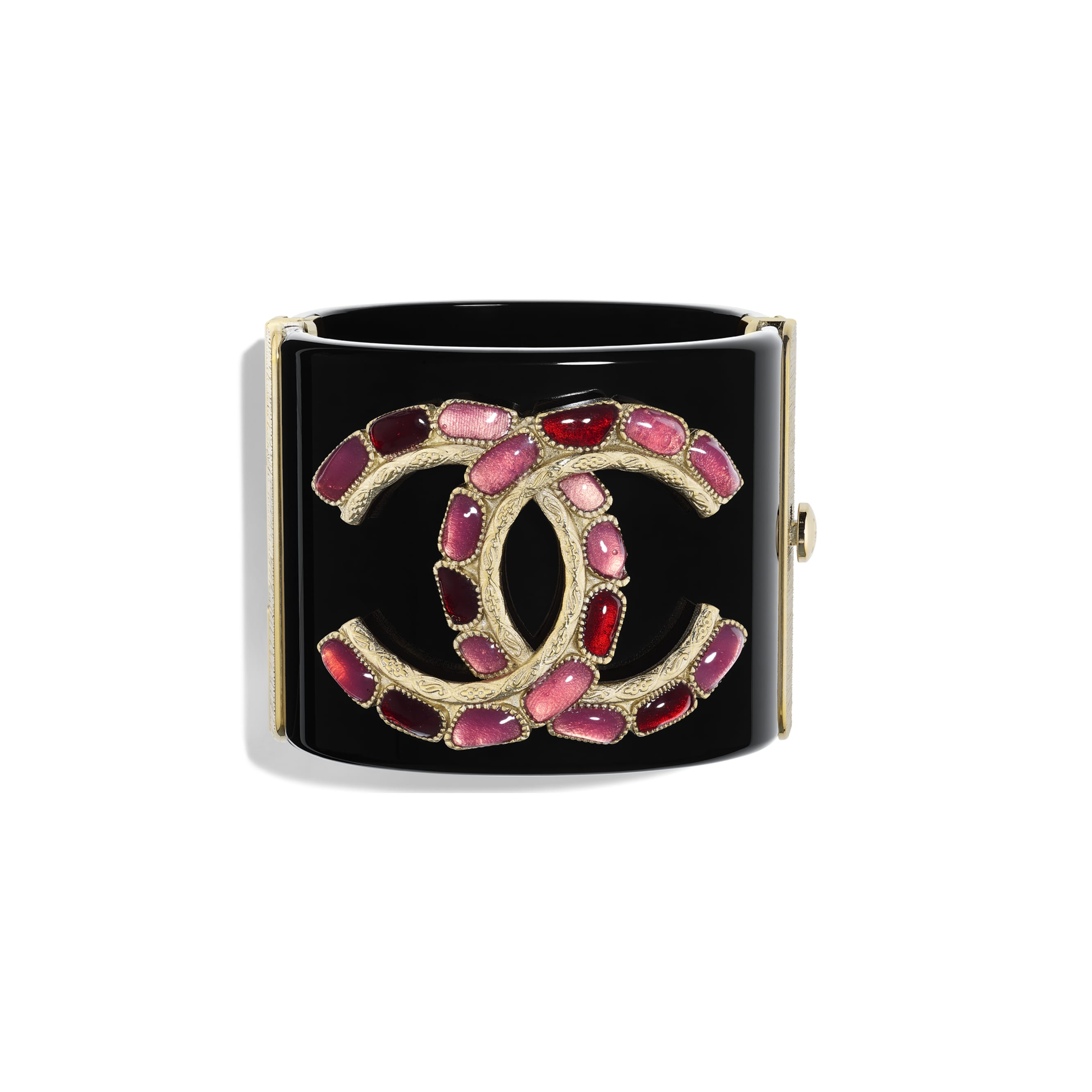 Cuff - Black, Red, Pink & Gold - Resin & Metal - CHANEL - Default view - see standard sized version