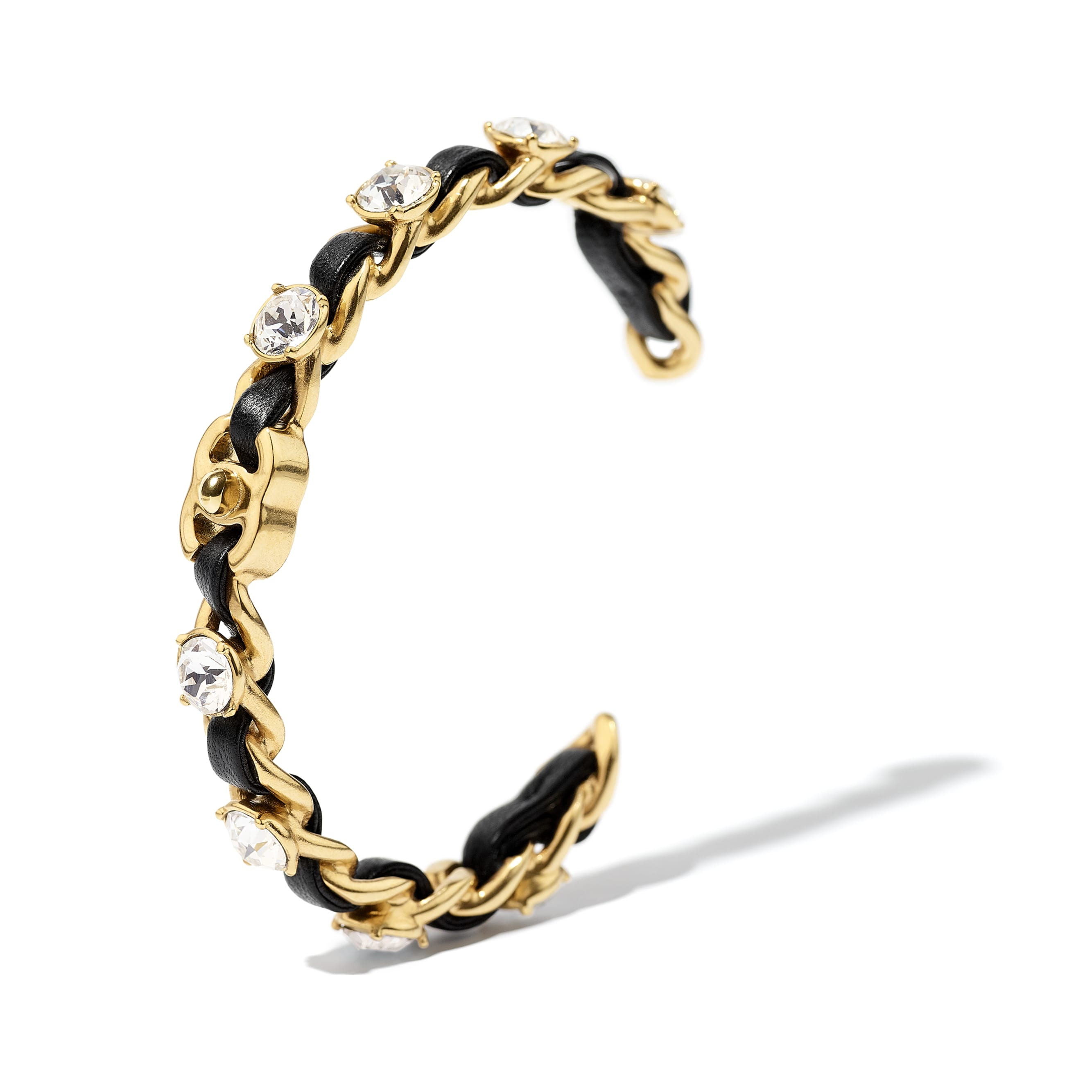 Cuff - Gold, Black & Crystal - Metal, Lambskin & Strass - CHANEL - Alternative view - see standard sized version
