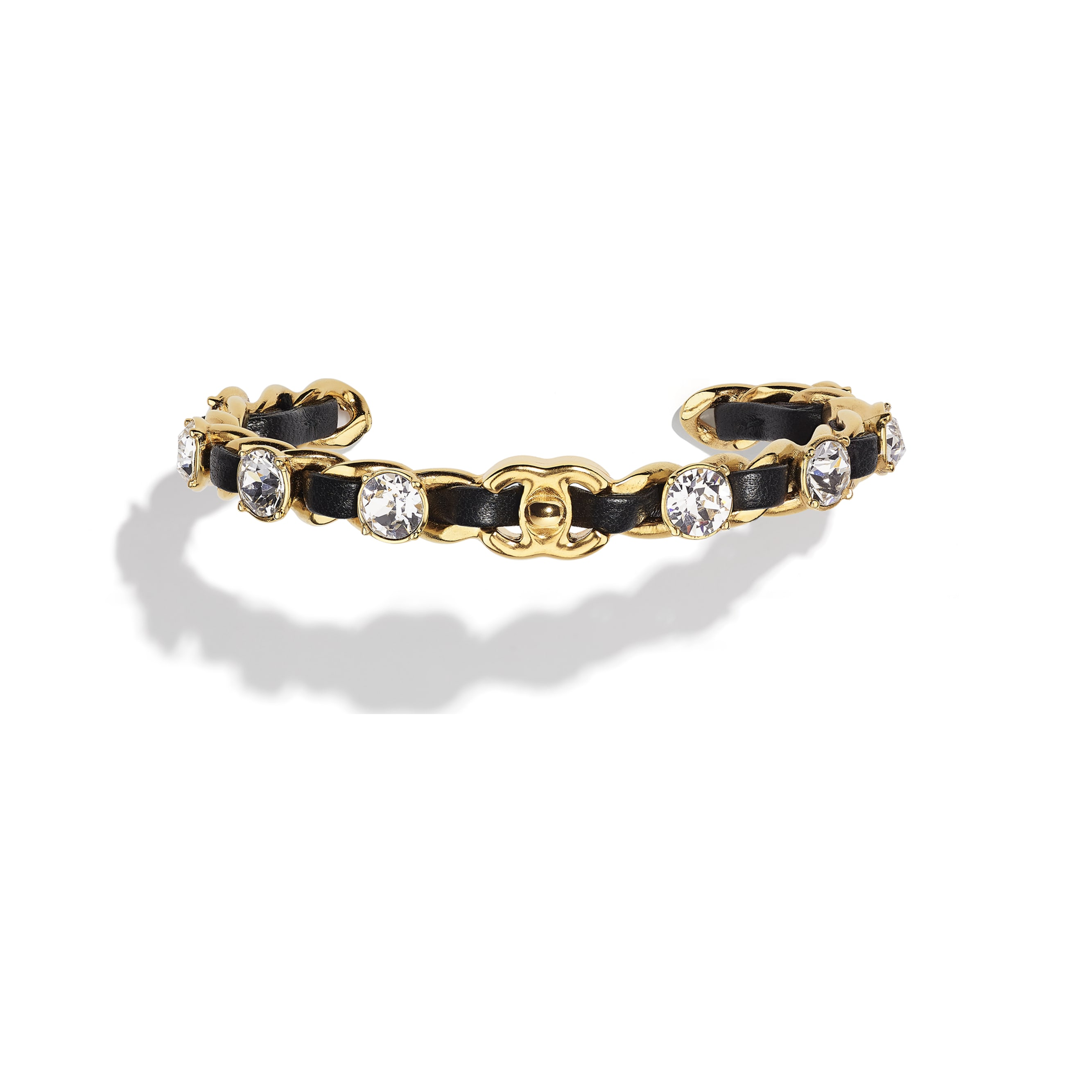 Cuff - Gold, Black & Crystal - Metal, Lambskin & Strass - CHANEL - Default view - see standard sized version