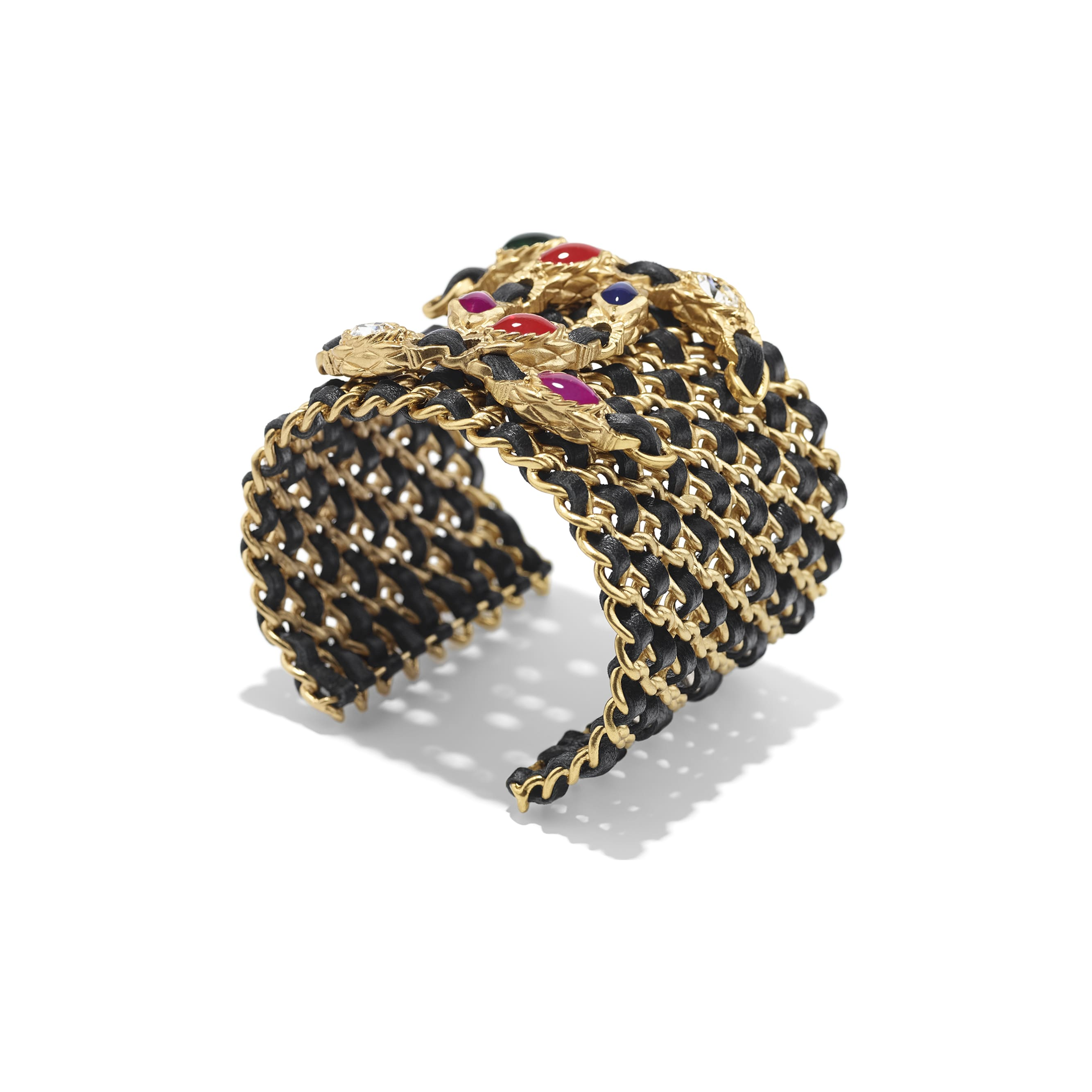 Cuff - Gold, Black, Crystal & Multicolor - Metal, lambskin, diamanté & resin - Alternative view - see standard sized version