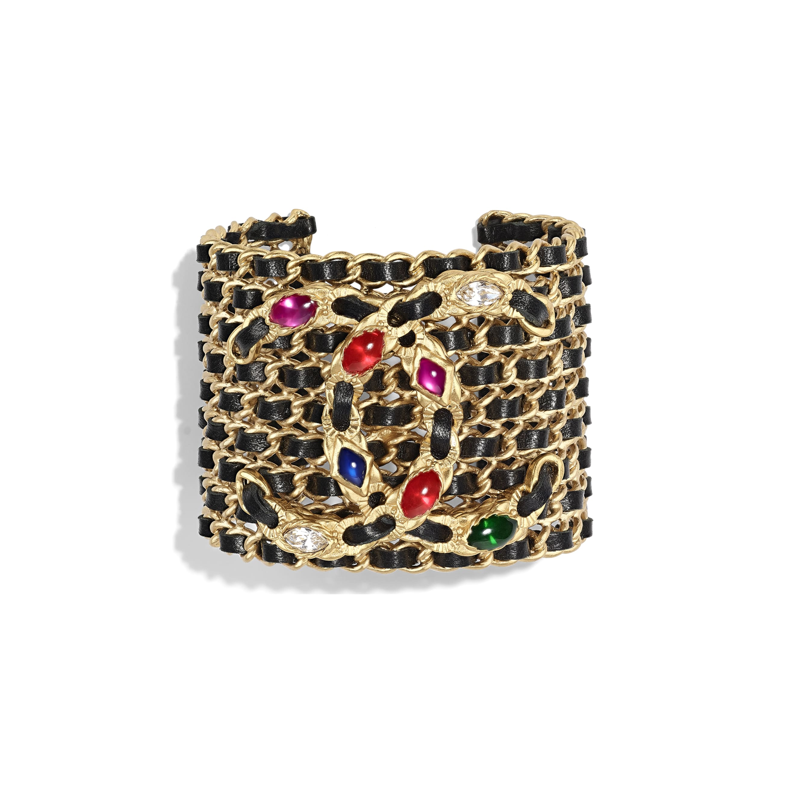 Cuff - Gold, Black, Crystal & Multicolor - Metal, lambskin, diamanté & resin - Default view - see standard sized version