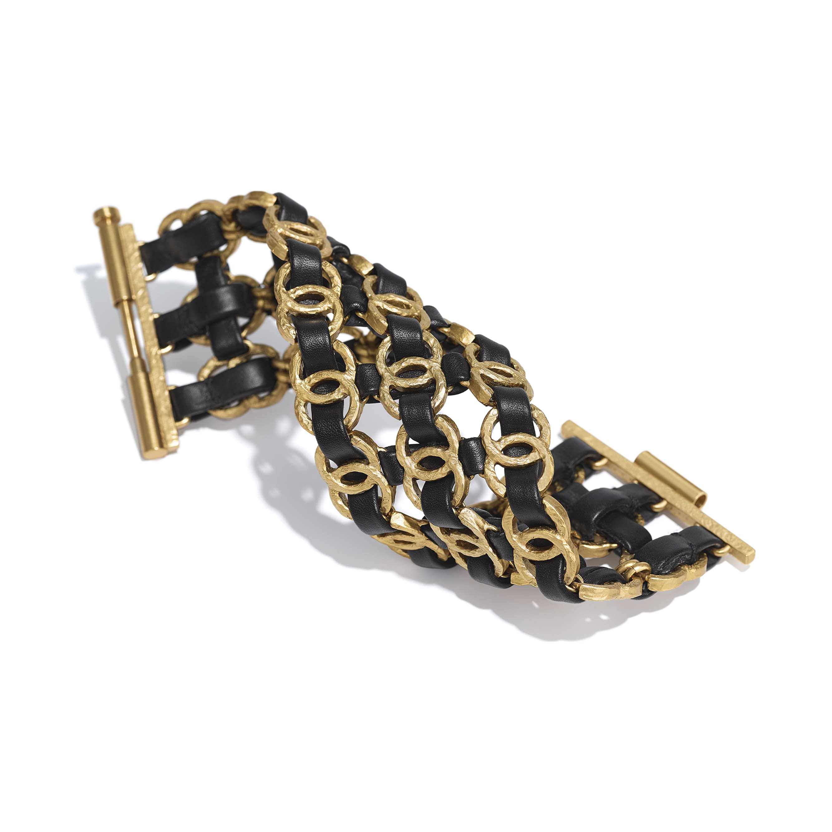 Cuff - Gold & Black - Metal & Calfskin - Alternative view - see standard sized version