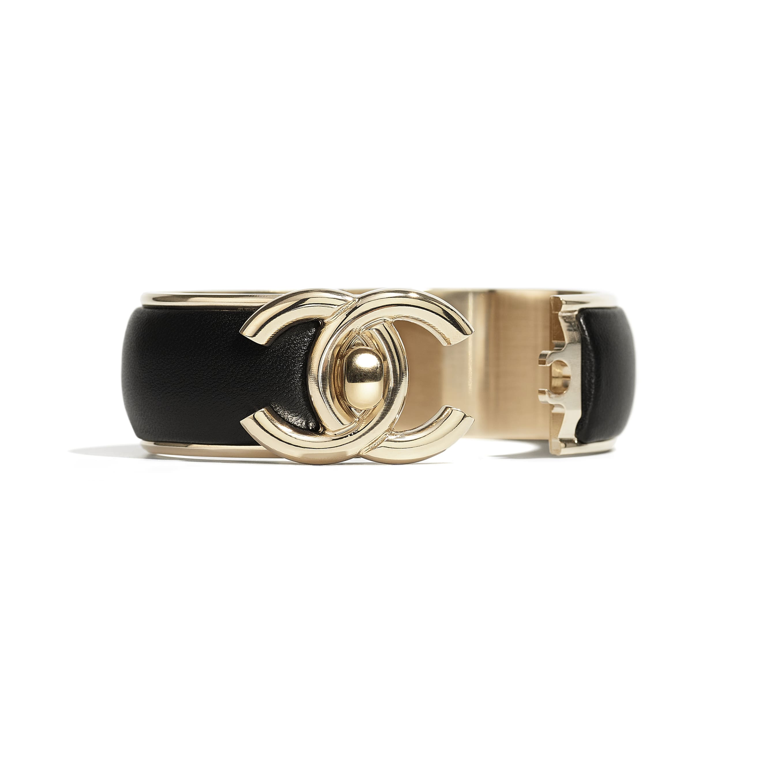 Cuff - Gold & Black - Metal & Lambskin - CHANEL - Alternative view - see standard sized version