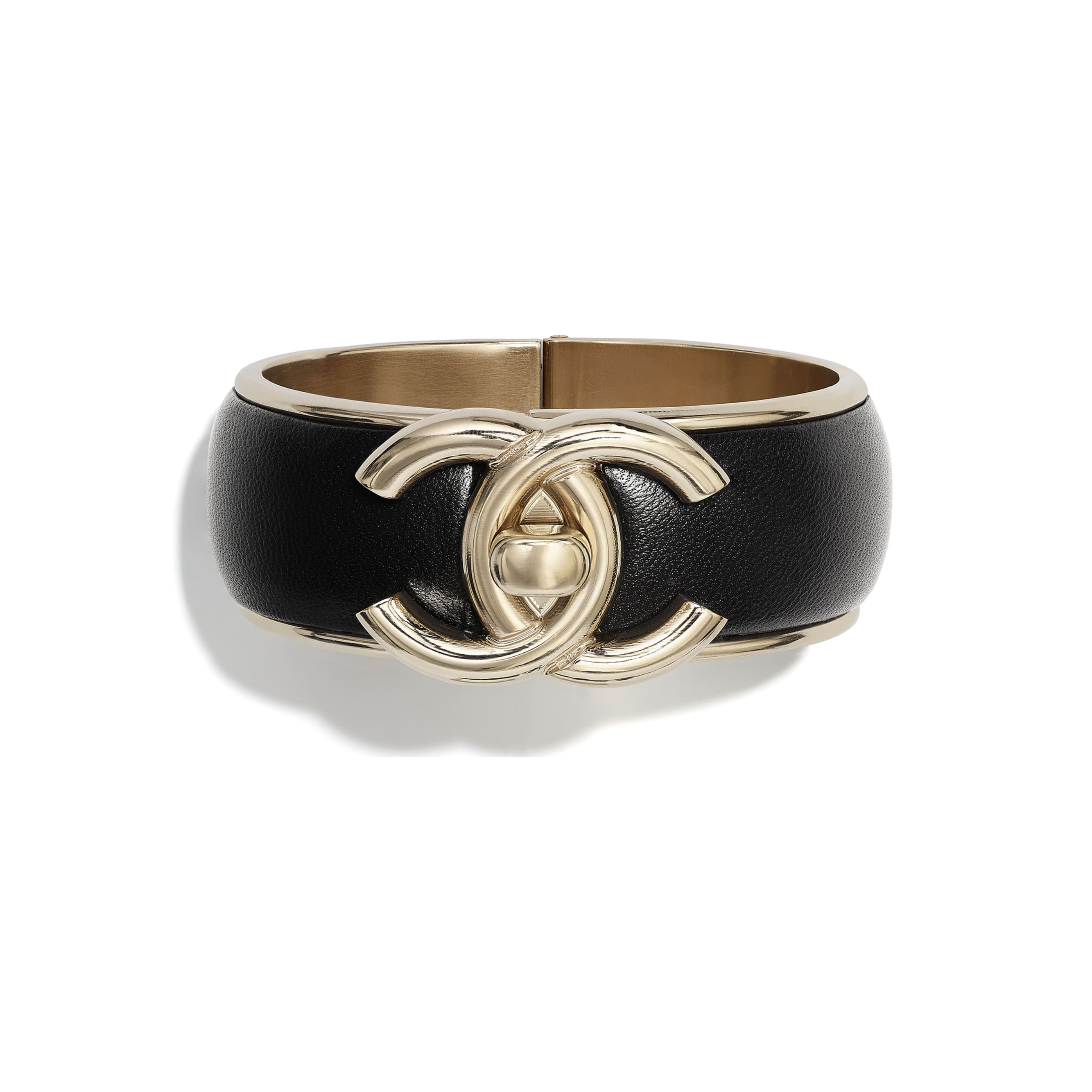 Cuff - Gold & Black - Metal & Lambskin - CHANEL - Default view - see standard sized version