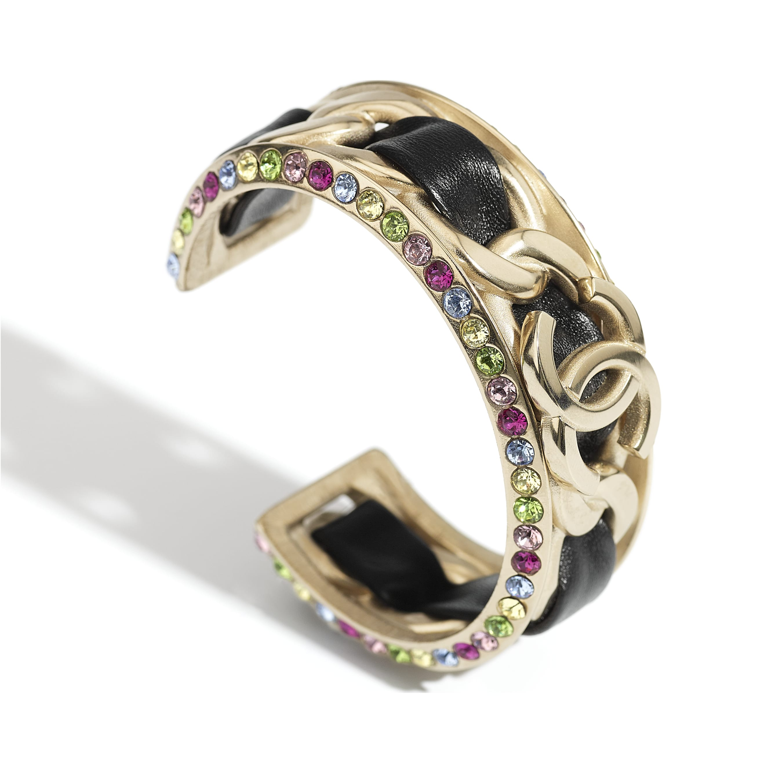 Cuff - Gold, black & multicolor - Metal, Lambskin & Strass - CHANEL - Alternative view - see standard sized version