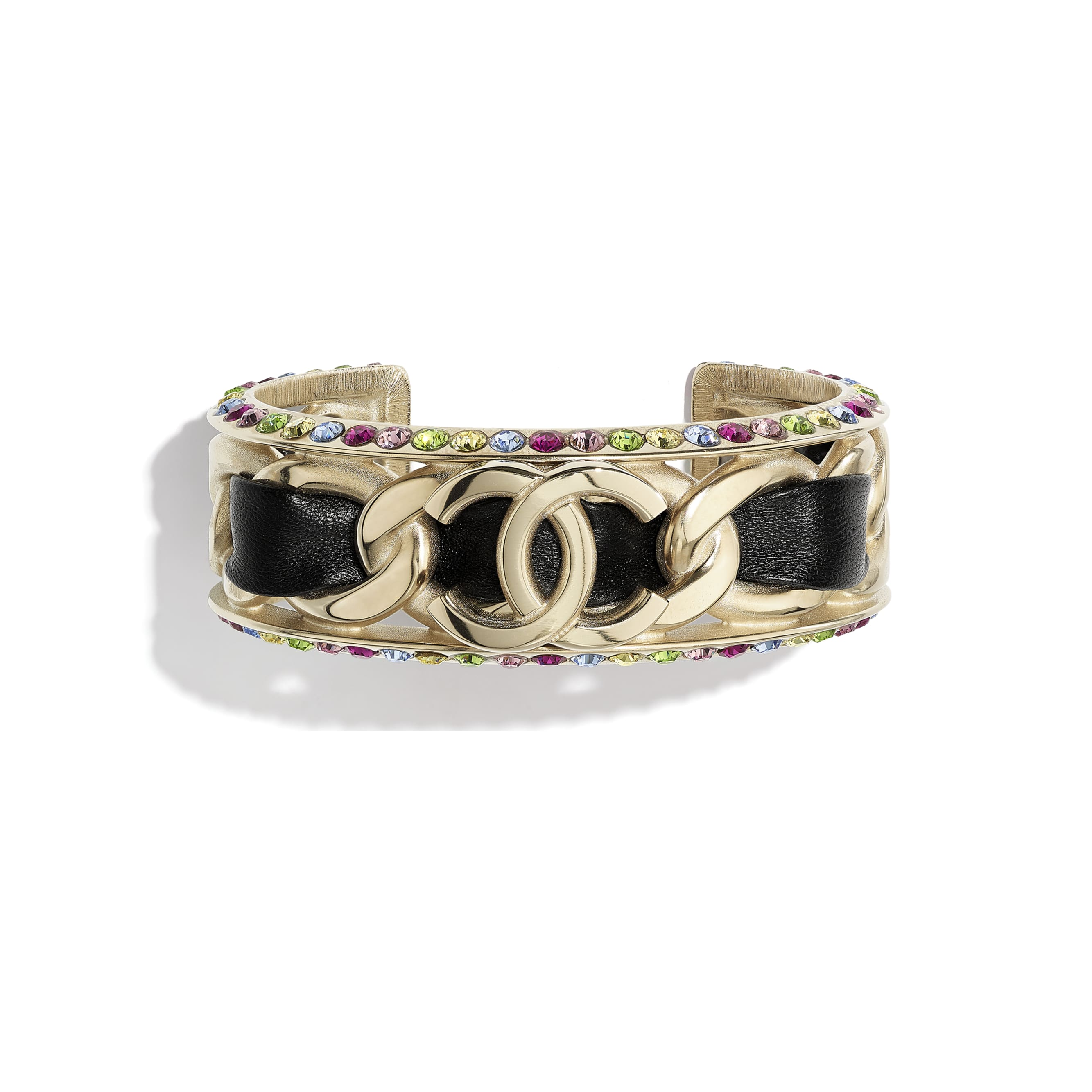 Cuff - Gold, black & multicolor - Metal, Lambskin & Strass - CHANEL - Default view - see standard sized version