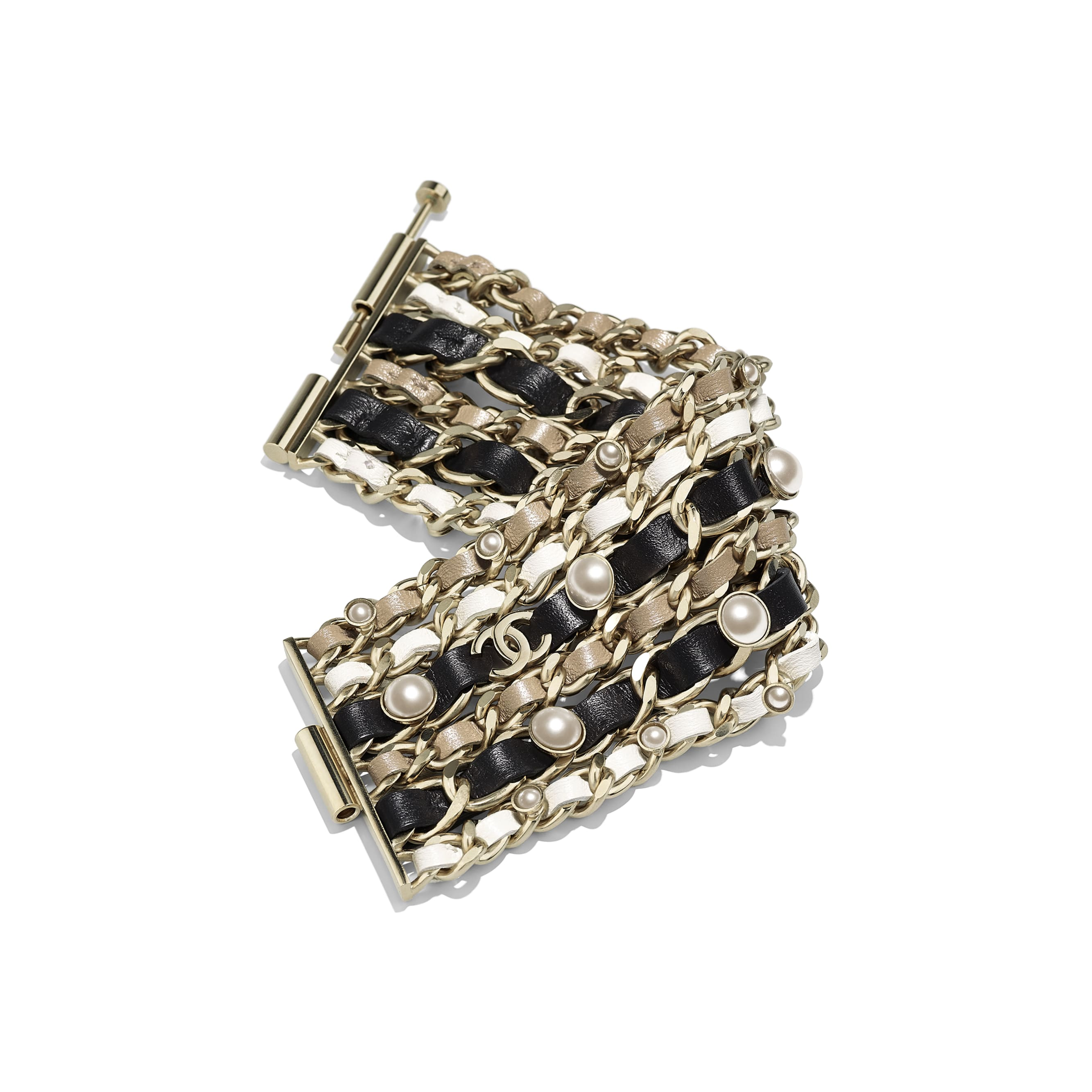 Cuff - Gold, Black, White & Beige - Metal, Lambskin, Glass Pearls & Imitation Pearls - Alternative view - see standard sized version