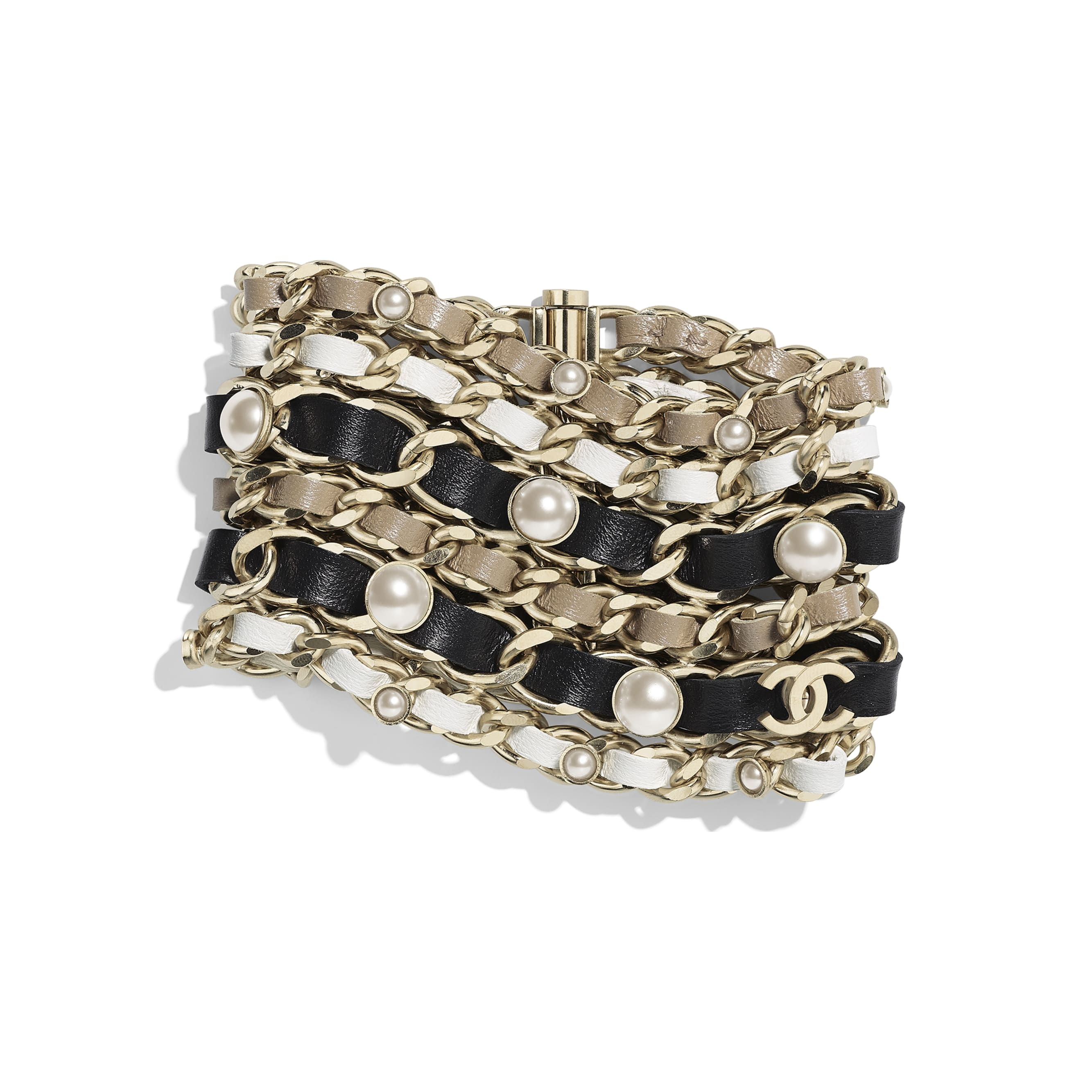 Cuff - Gold, Black, White & Beige - Metal, Lambskin, Glass Pearls & Imitation Pearls - Default view - see standard sized version