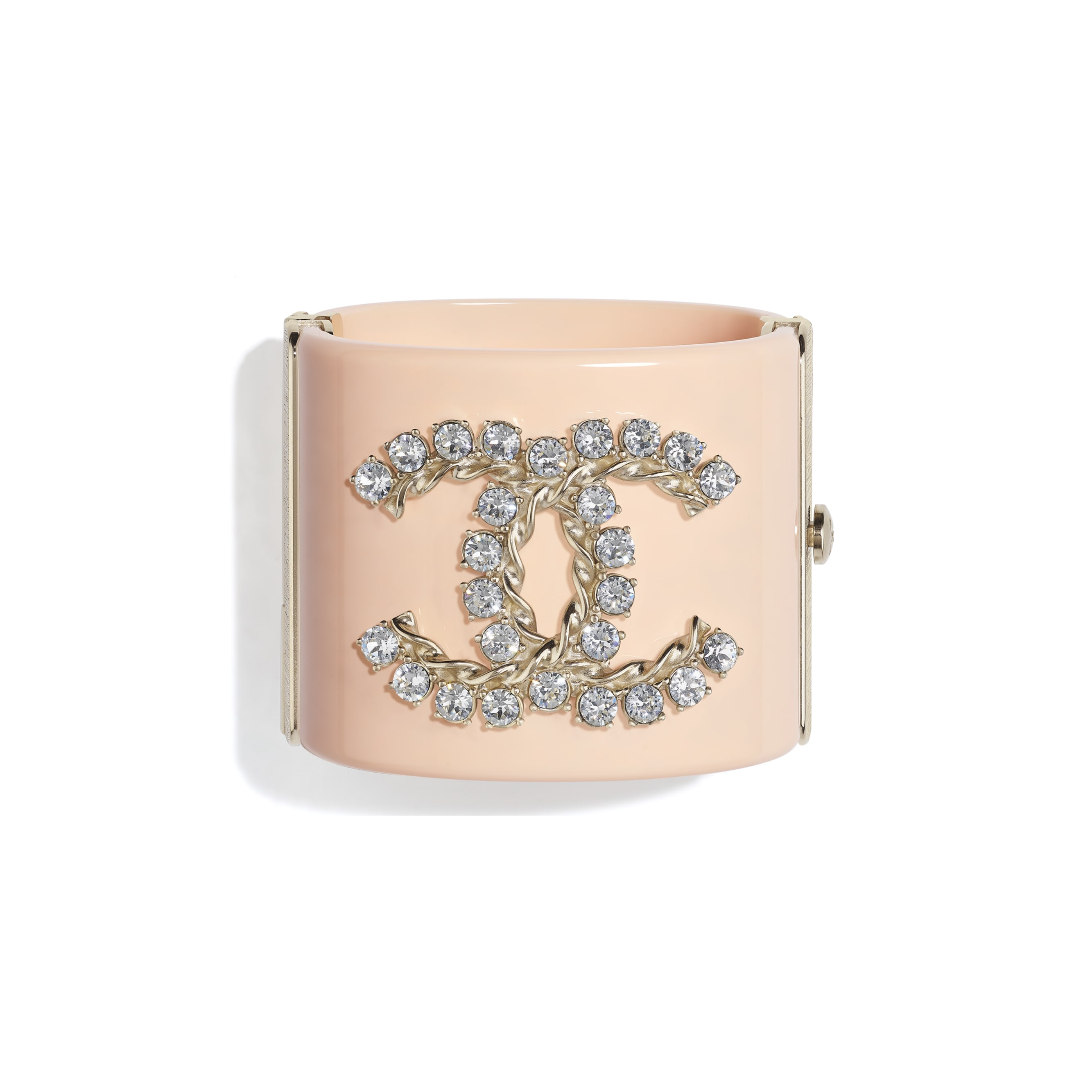 Cuff - Gold, Crystal & Pink - Metal, Diamantés & Resin - CHANEL - Default view - see standard sized version