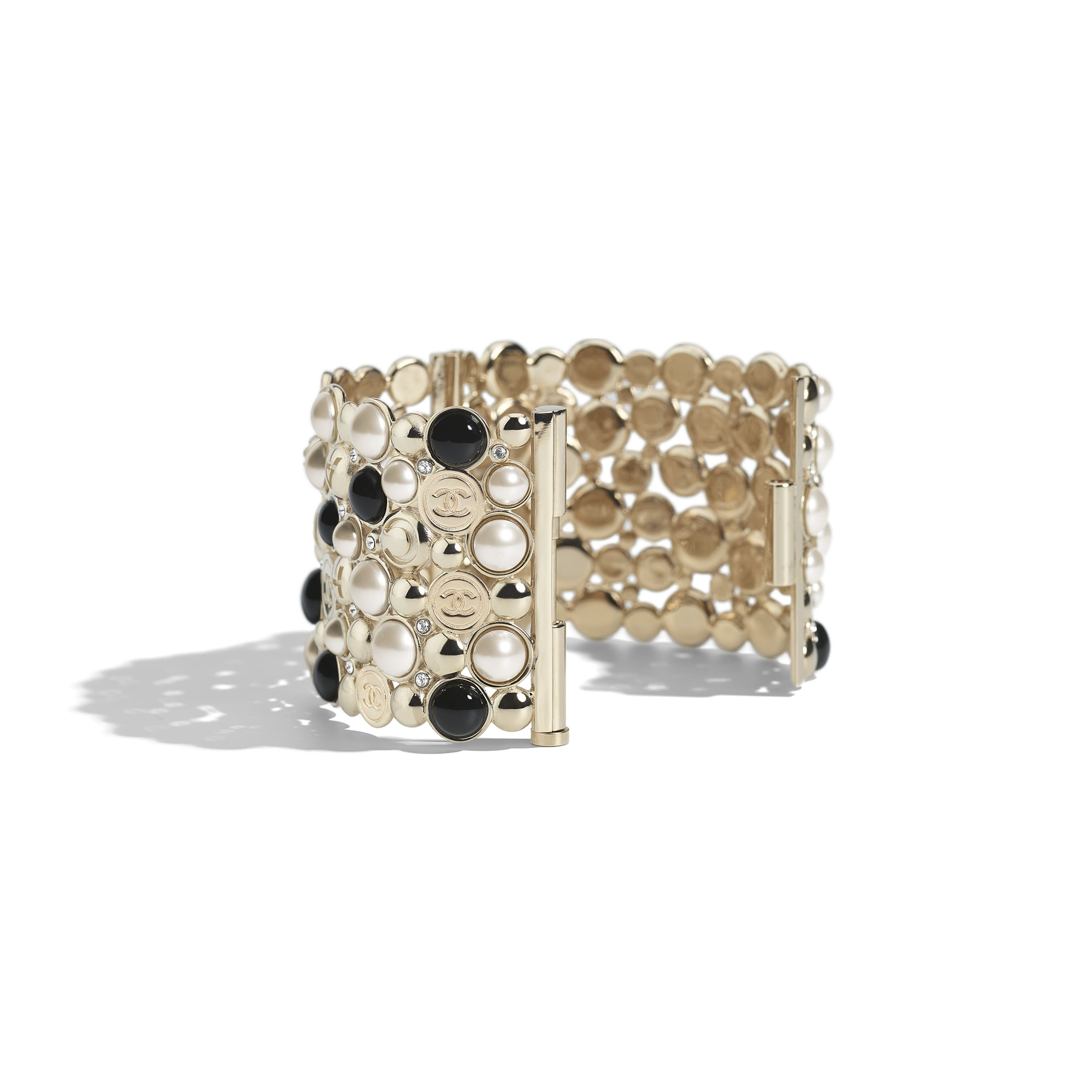 Cuff - Gold, Pearly White, Black & Crystal - Metal, Resin & Diamantés - Alternative view - see standard sized version