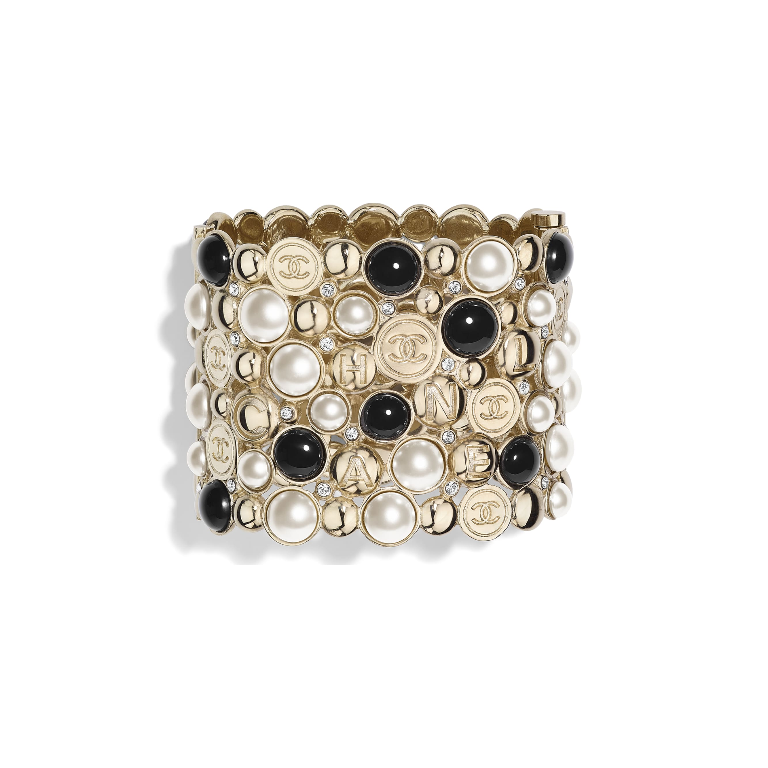 Cuff - Gold, Pearly White, Black & Crystal - Metal, Resin & Diamantés - Default view - see standard sized version