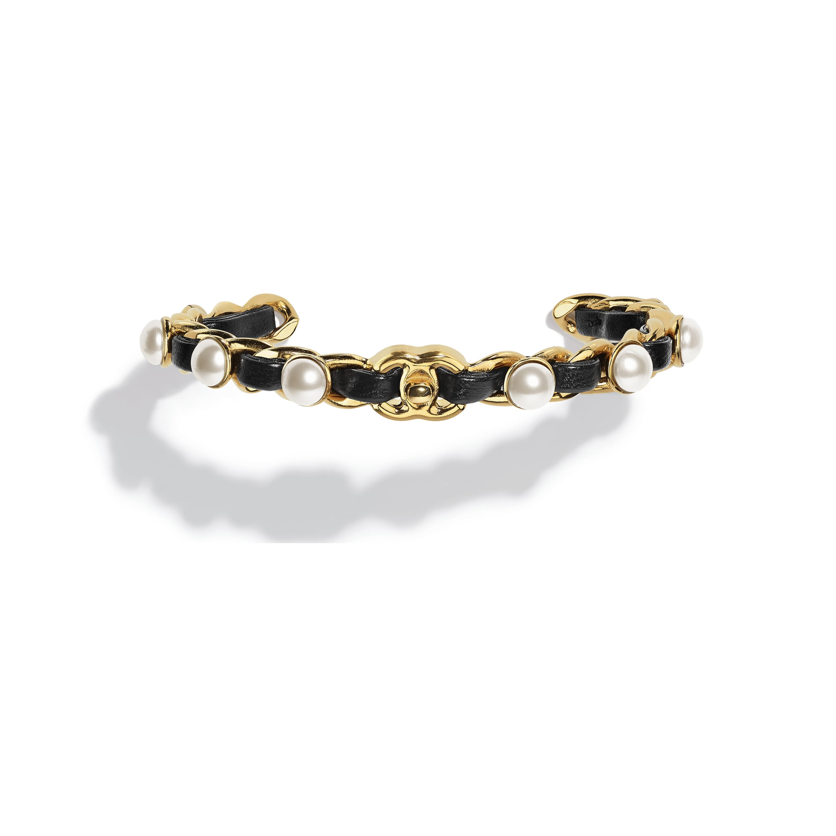 Cuff - Gold, Pearly White & Black - Metal, Glass Pearls & Lambskin - CHANEL - Default view - see standard sized version