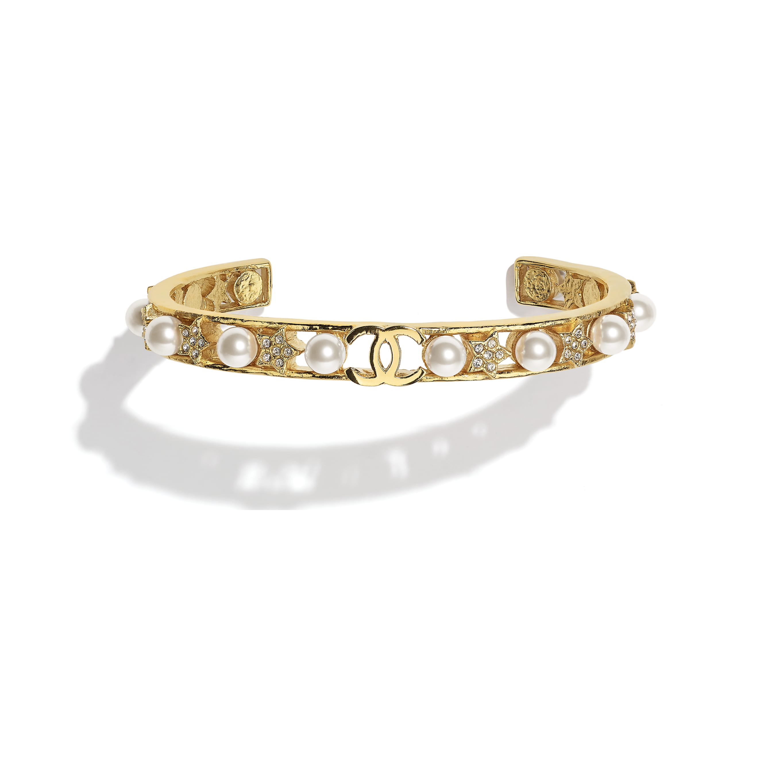 Cuff - Gold, Pearly White & Crystal - Metal, Glass Pearls & Strass - CHANEL - Default view - see standard sized version