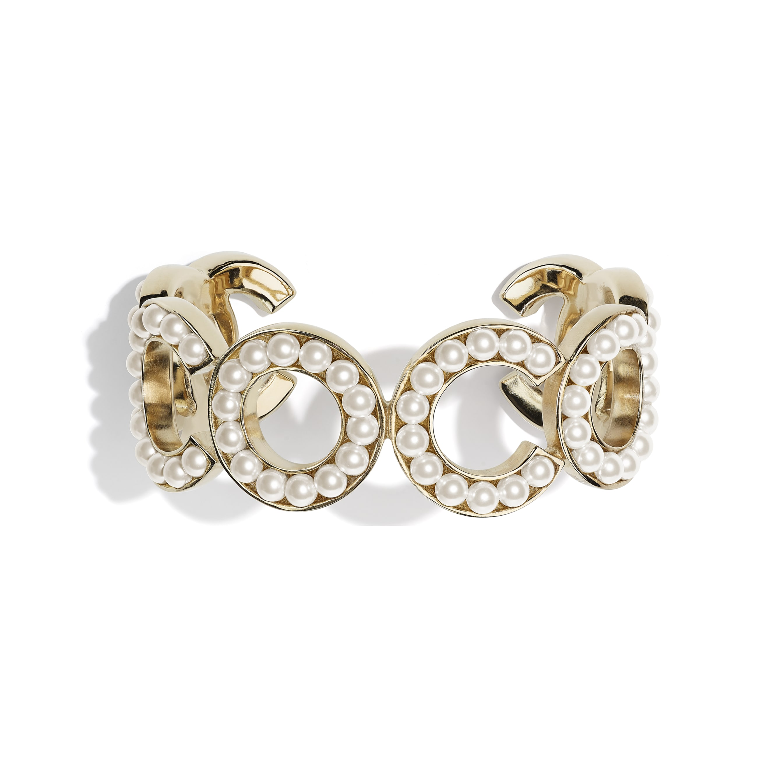 Cuff - Gold & Pearly White - Metal & Glass Pearls - CHANEL - Default view - see standard sized version
