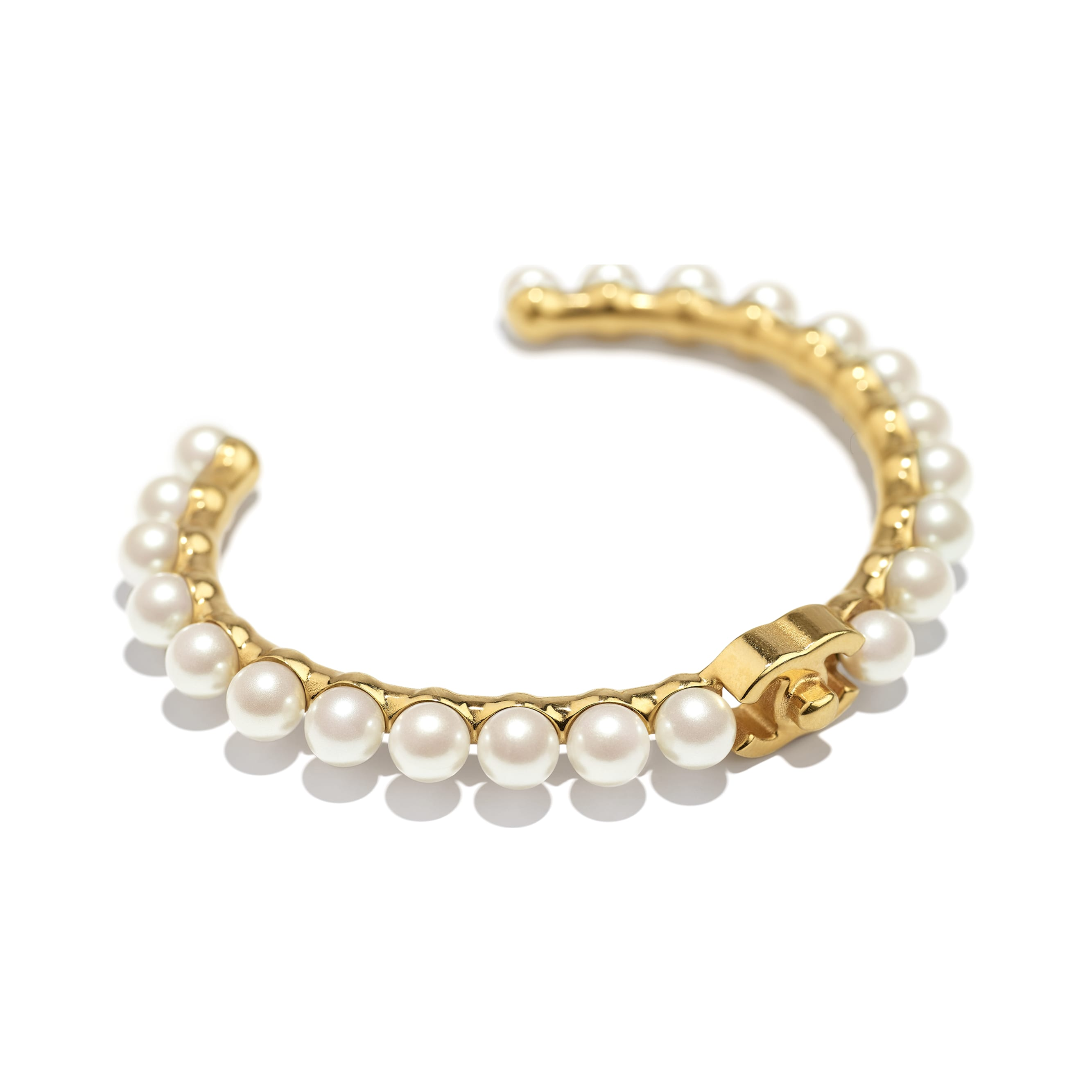 Cuff - Gold & Pearly White - Metal & Imitation Pearls - CHANEL - Alternative view - see standard sized version