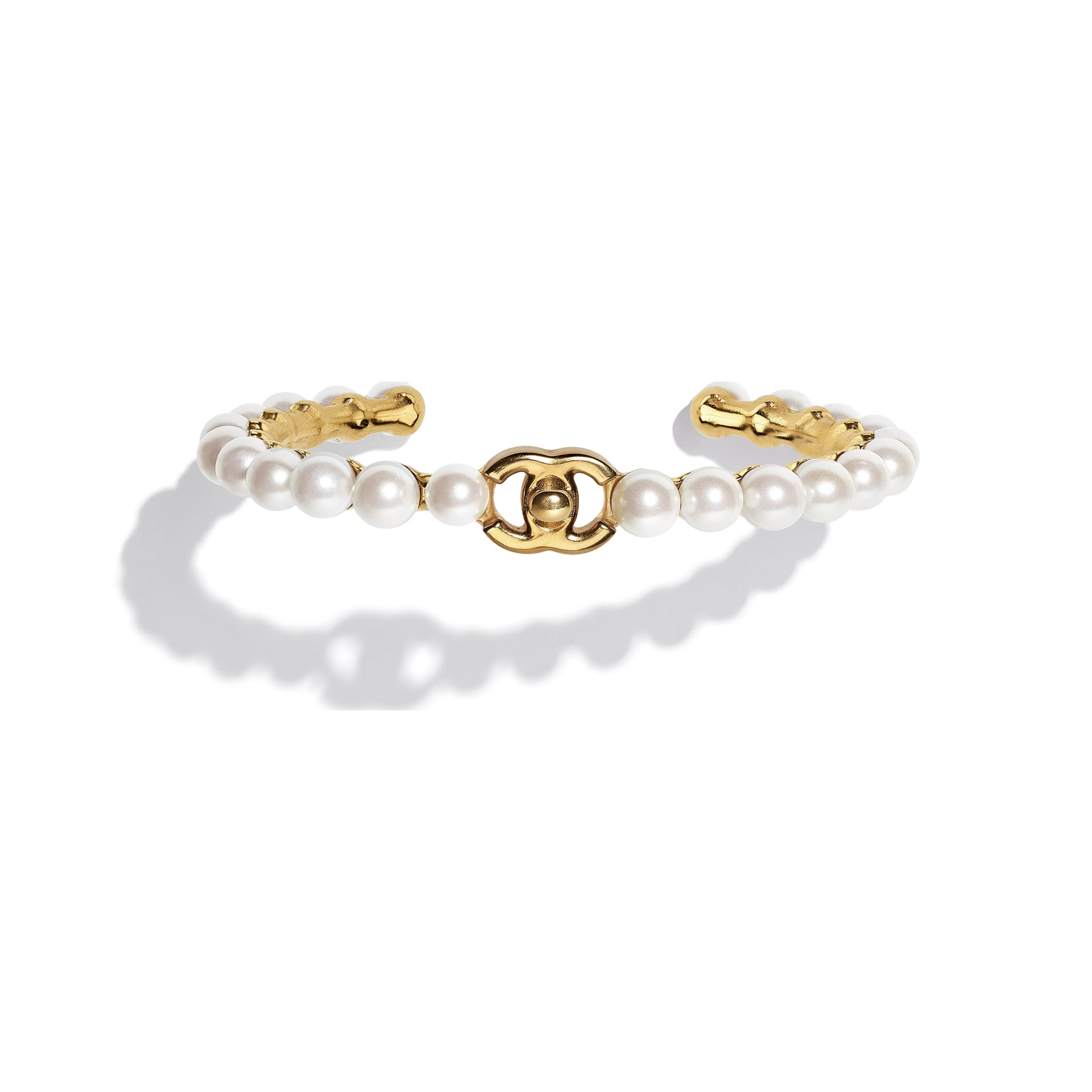 Cuff - Gold & Pearly White - Metal & Imitation Pearls - CHANEL - Default view - see standard sized version