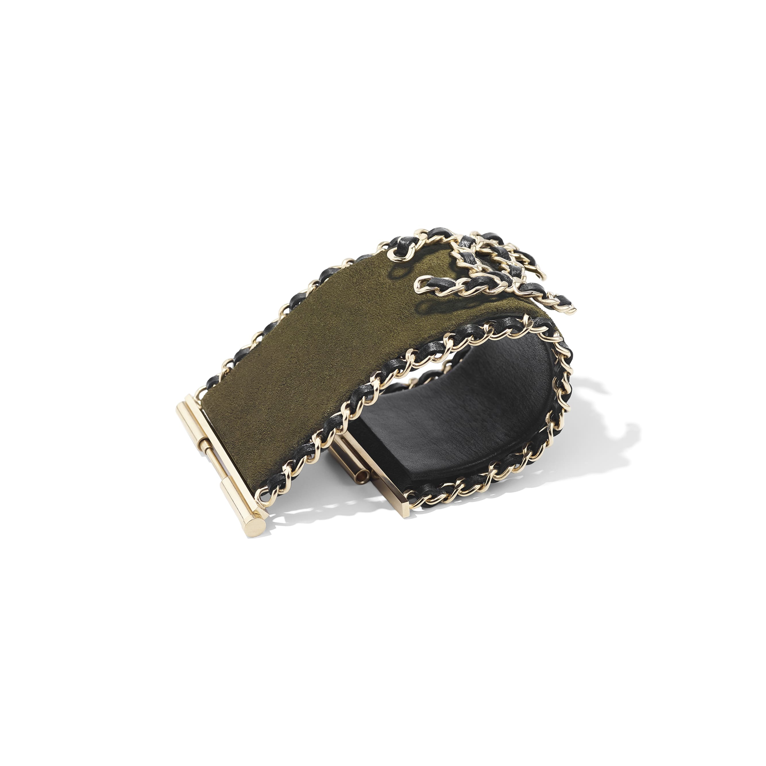 Cuff - Khaki, Black & Gold - Calfskin, Lambskin & Metal - CHANEL - Alternative view - see standard sized version