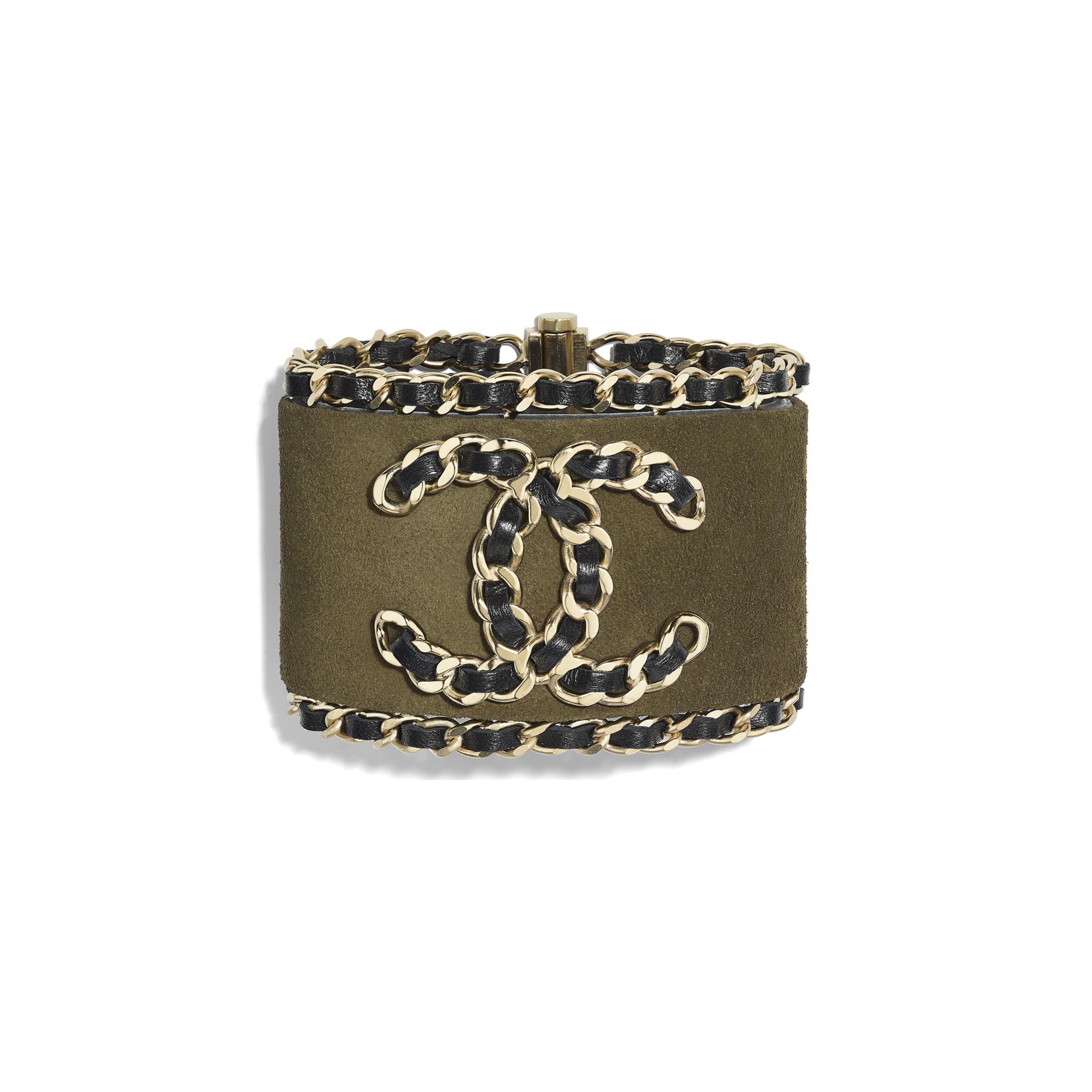 Cuff - Khaki, Black & Gold - Calfskin, Lambskin & Metal - CHANEL - Default view - see standard sized version