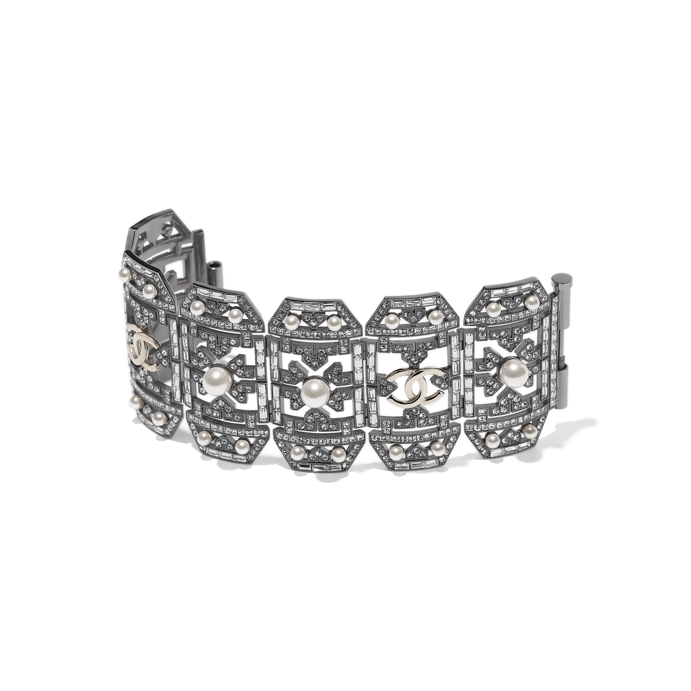 Cuff - Ruthenium, Gold, Pearly White & Crystal - Metal, Glass Pearls & Diamantés - Alternative view - see standard sized version