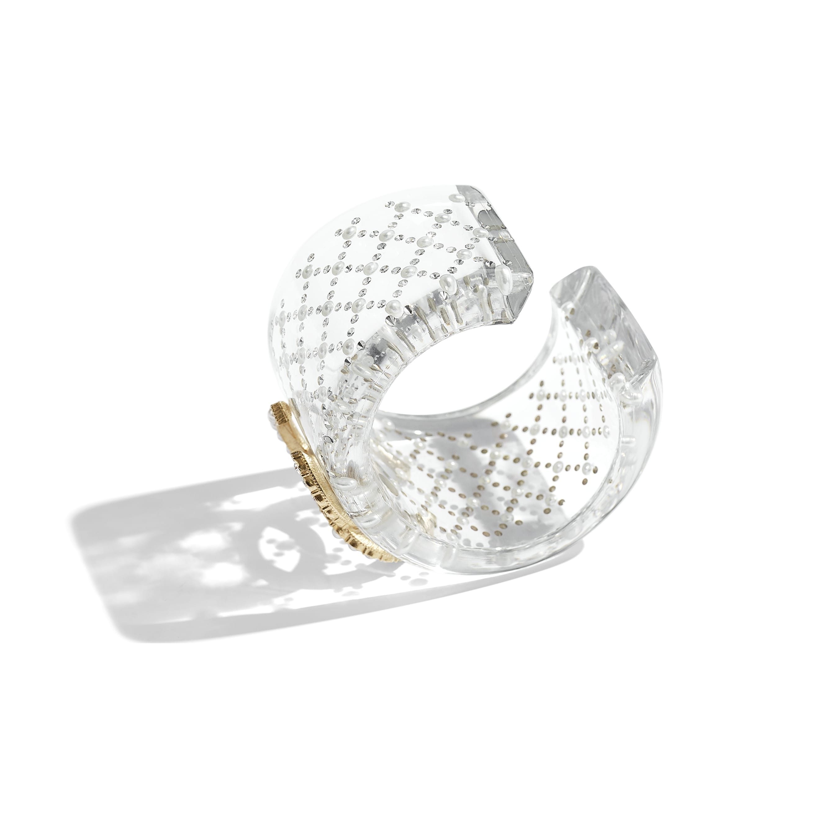 Cuff - Transparent, Pearly White, Crystal & Gold - Resin, Glass Pearls, Diamanté & Metal - Alternative view - see standard sized version
