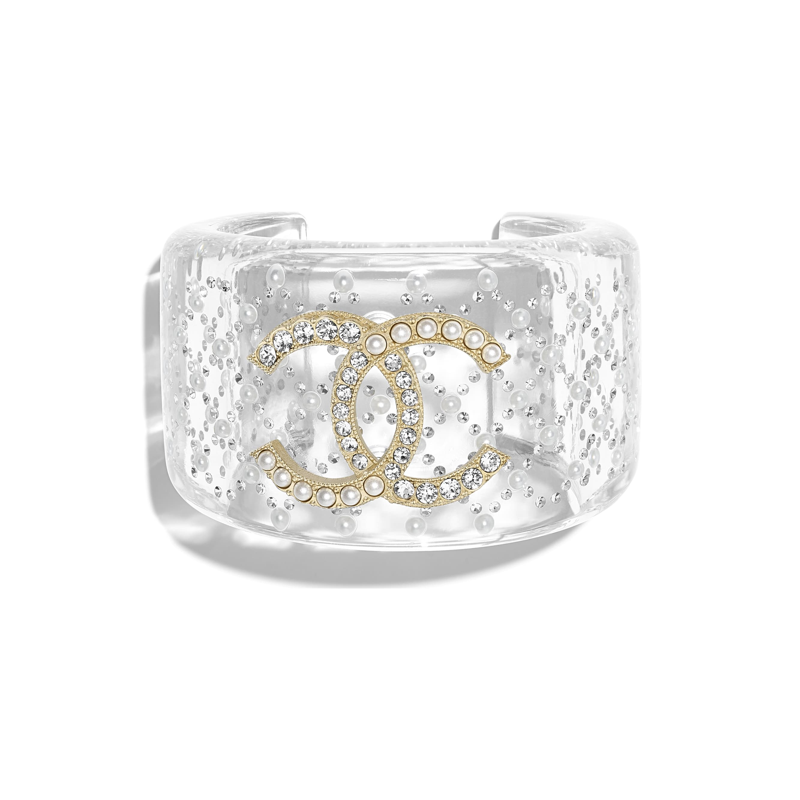 Cuff - Transparent, Pearly White, Crystal & Gold - Resin, Glass Pearls, Diamanté & Metal - Default view - see standard sized version