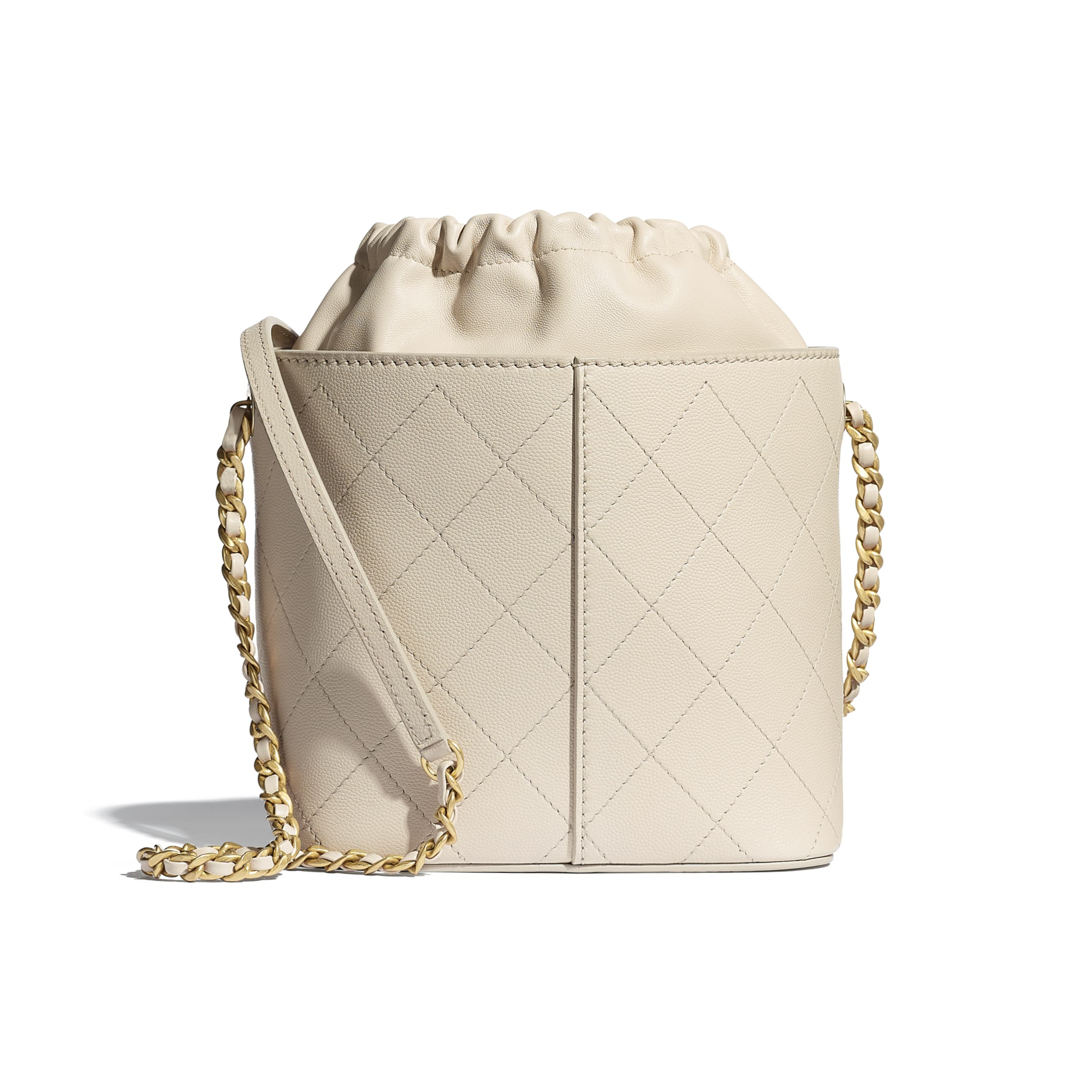 Drawstring Bag - Beige - Grained Lambskin, Smooth Lambskin & Gold-Tone Metal - CHANEL - Alternative view - see standard sized version