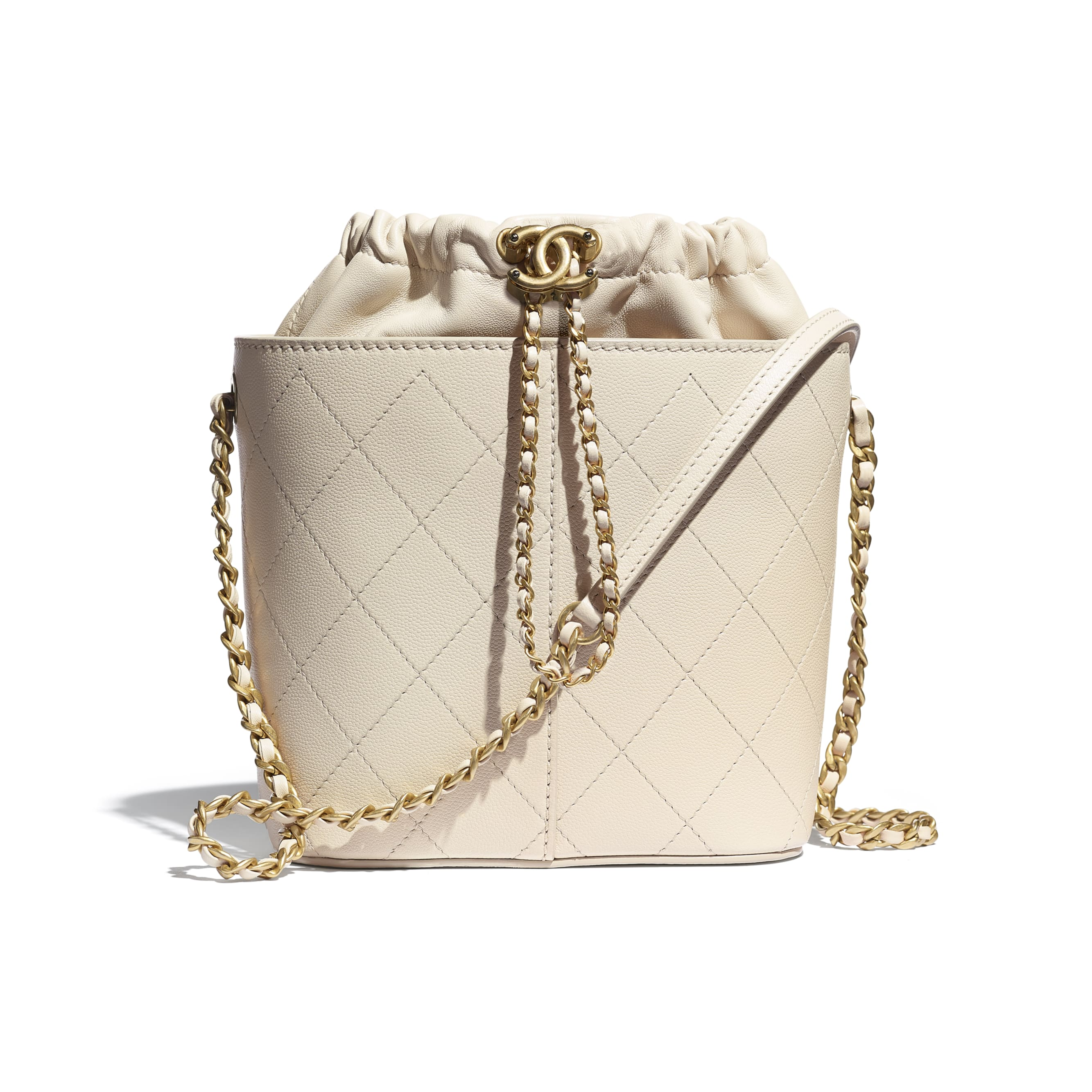 Drawstring Bag - Beige - Grained Lambskin, Smooth Lambskin & Gold-Tone Metal - CHANEL - Default view - see standard sized version
