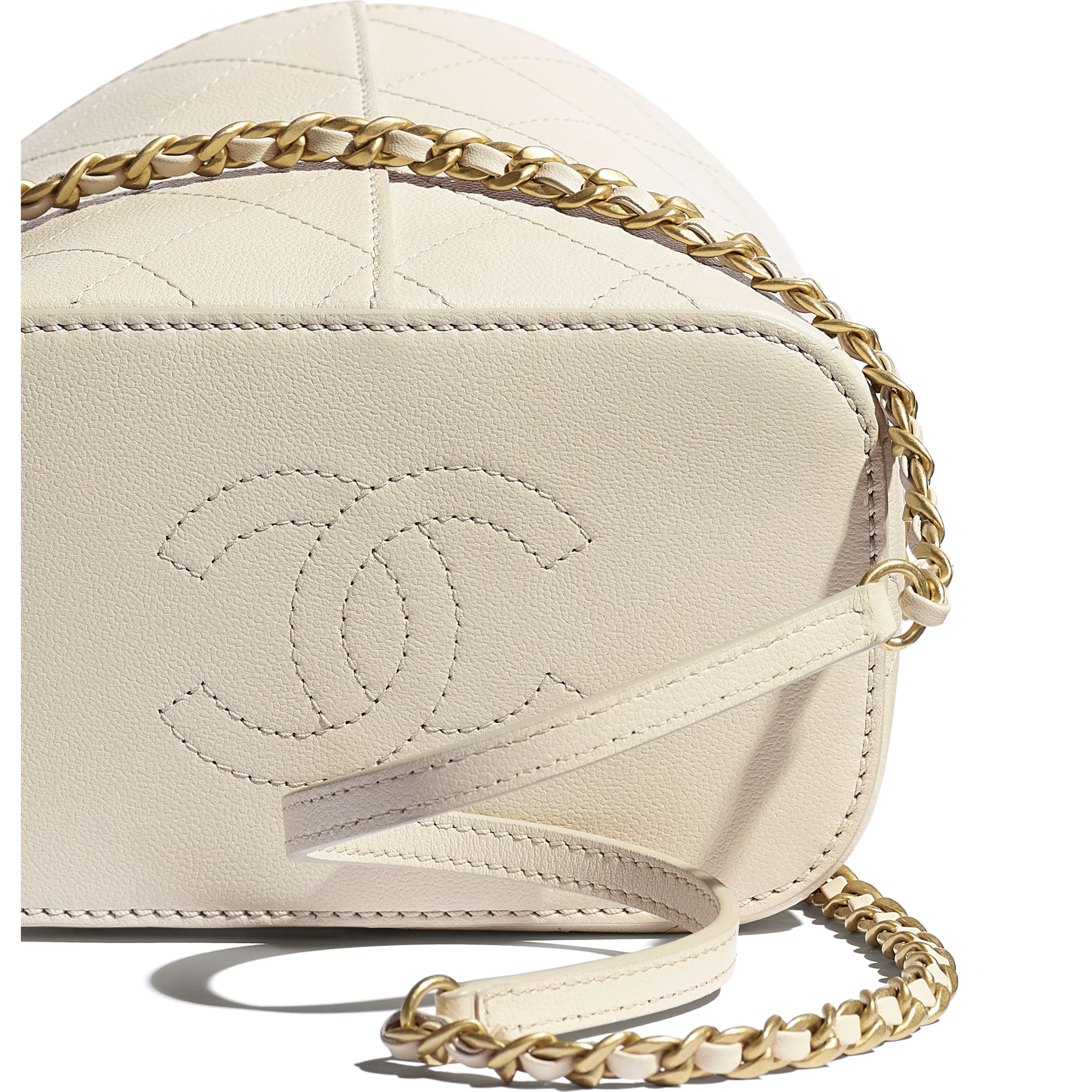 Drawstring Bag - Beige - Grained Lambskin, Smooth Lambskin & Gold-Tone Metal - CHANEL - Extra view - see standard sized version