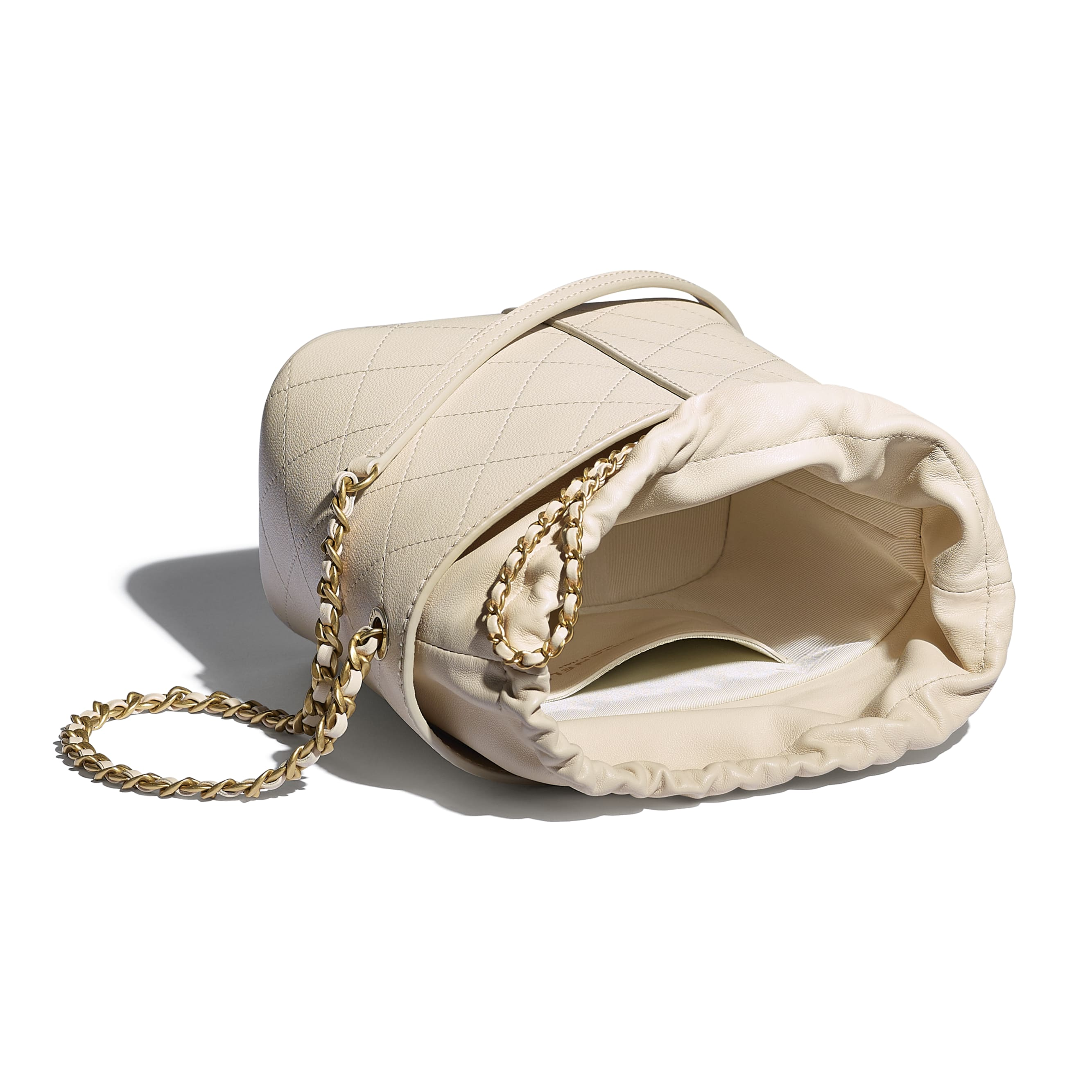 Drawstring Bag - Beige - Grained Lambskin, Smooth Lambskin & Gold-Tone Metal - CHANEL - Other view - see standard sized version