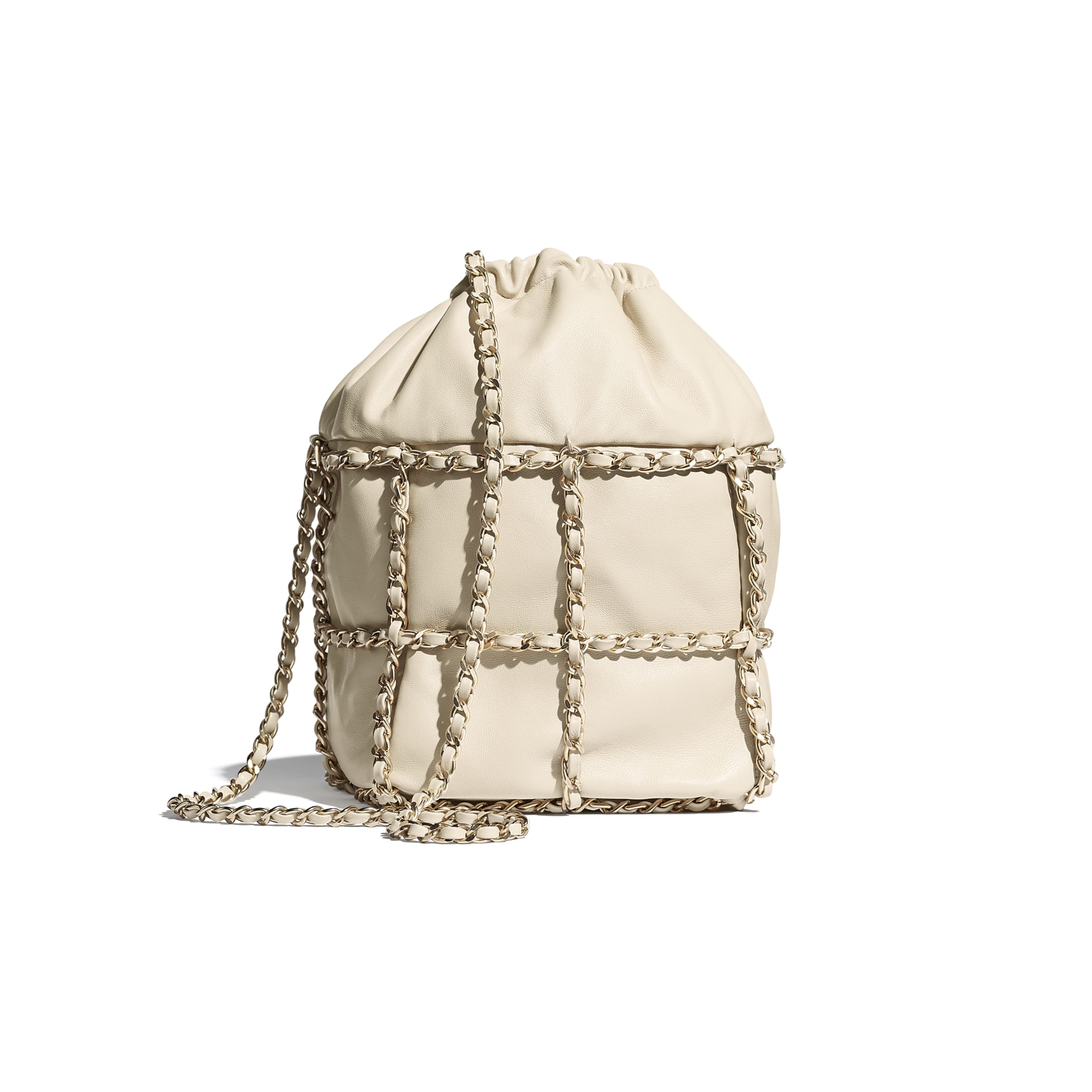 Drawstring Bag - Beige - Lambskin & Gold Metal  - CHANEL - Alternative view - see standard sized version