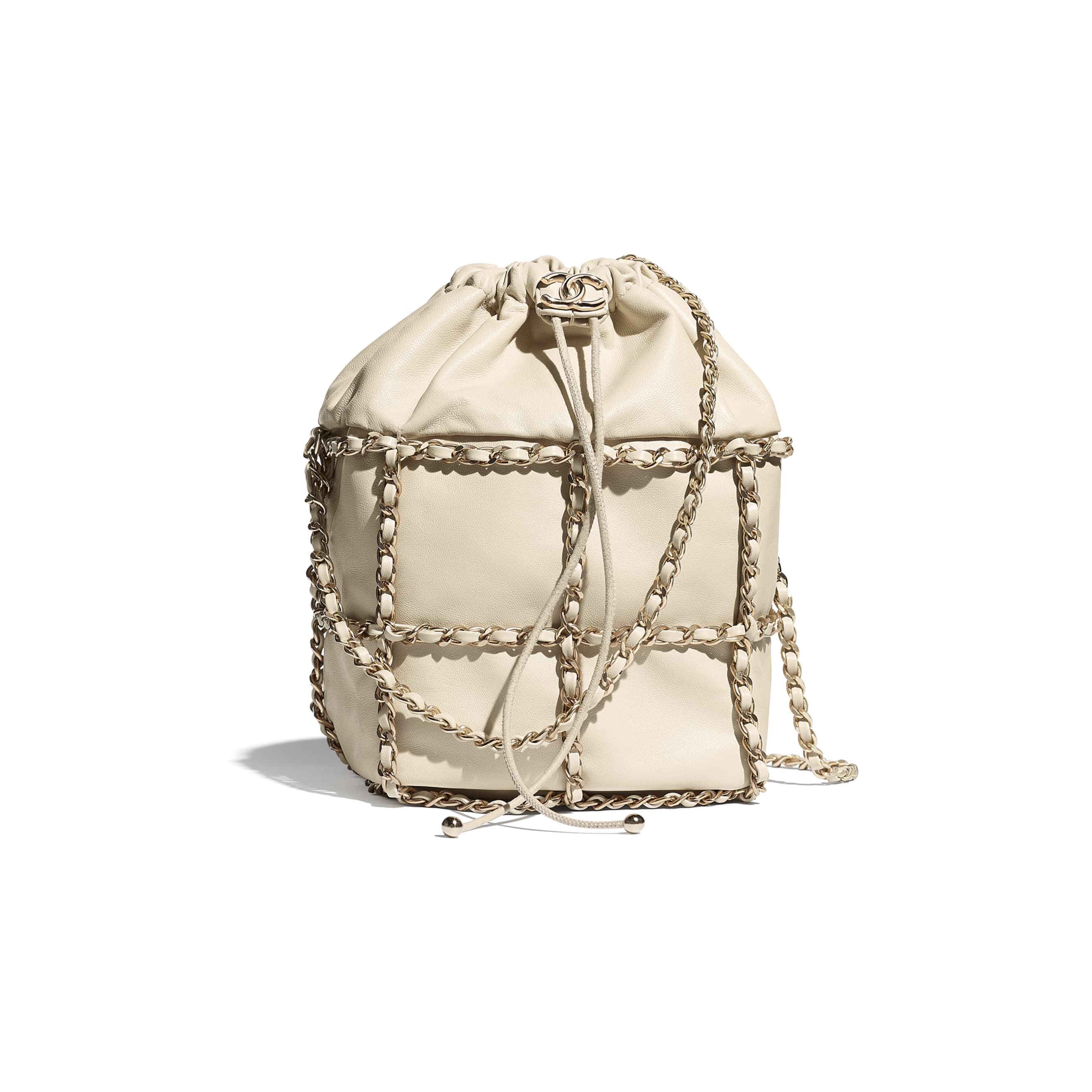 Drawstring Bag - Beige - Lambskin & Gold Metal  - CHANEL - Default view - see standard sized version