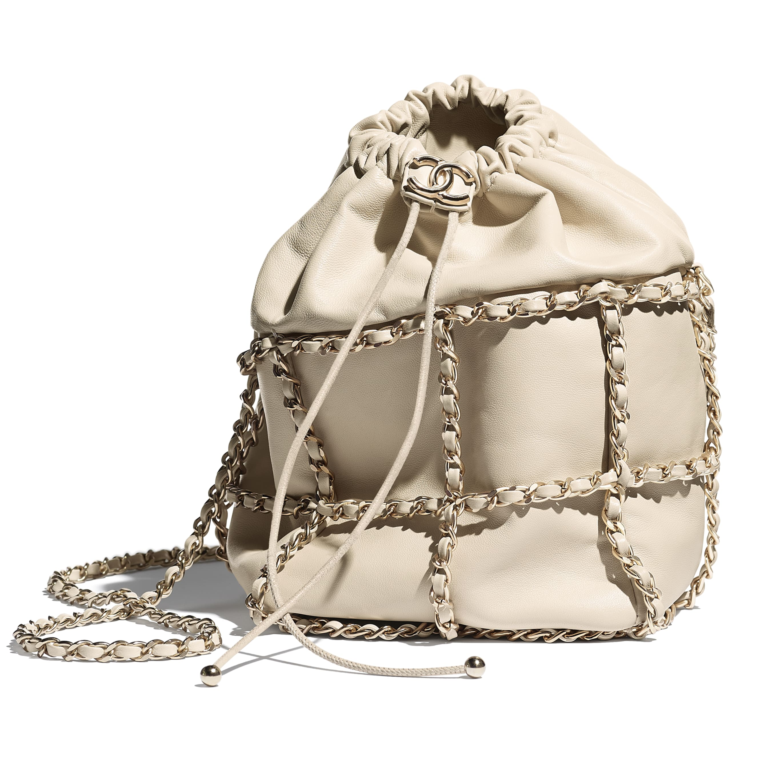 Drawstring Bag - Beige - Lambskin & Gold Metal  - CHANEL - Extra view - see standard sized version
