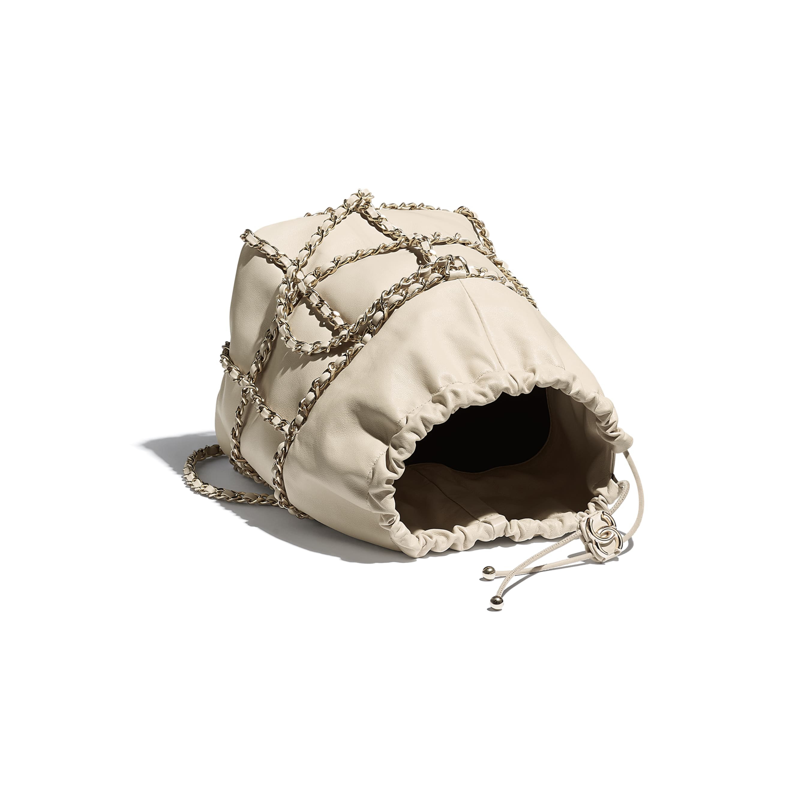 Drawstring Bag - Beige - Lambskin & Gold Metal  - CHANEL - Other view - see standard sized version
