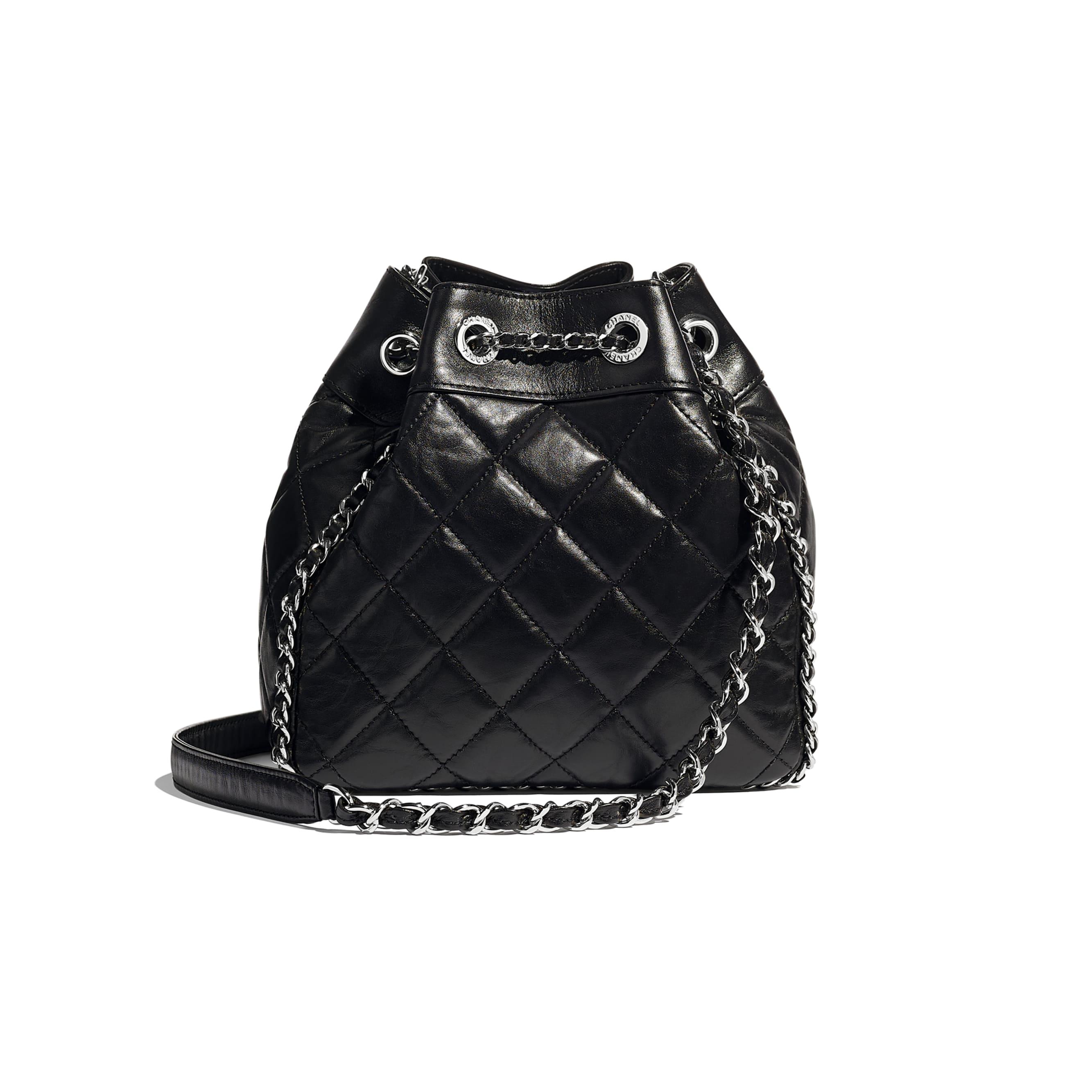 Drawstring Bag - Black - Aged Calfskin & Silver-Tone Metal - CHANEL - Alternative view - see standard sized version
