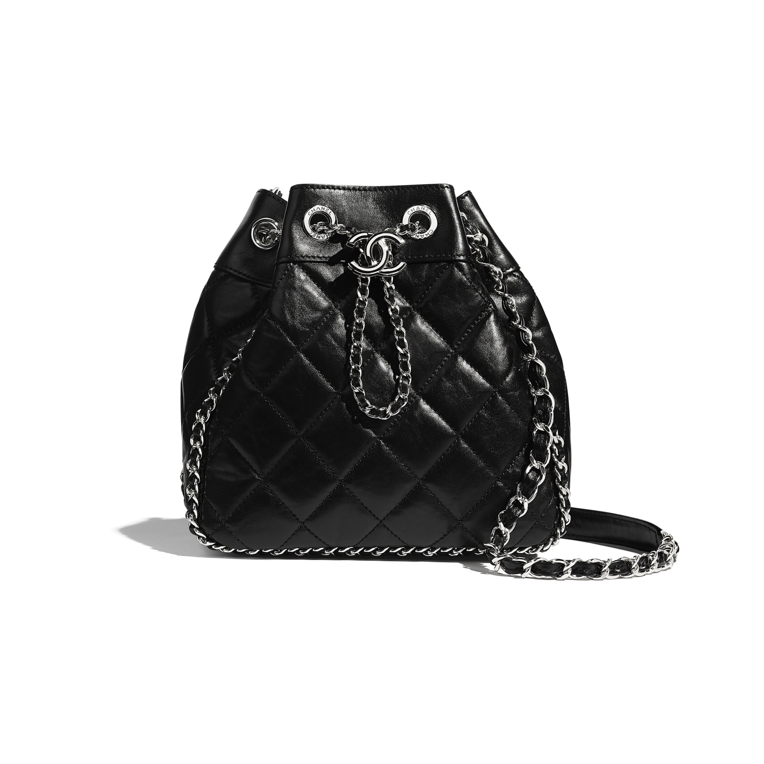 Drawstring Bag - Black - Aged Calfskin & Silver-Tone Metal - CHANEL - Default view - see standard sized version