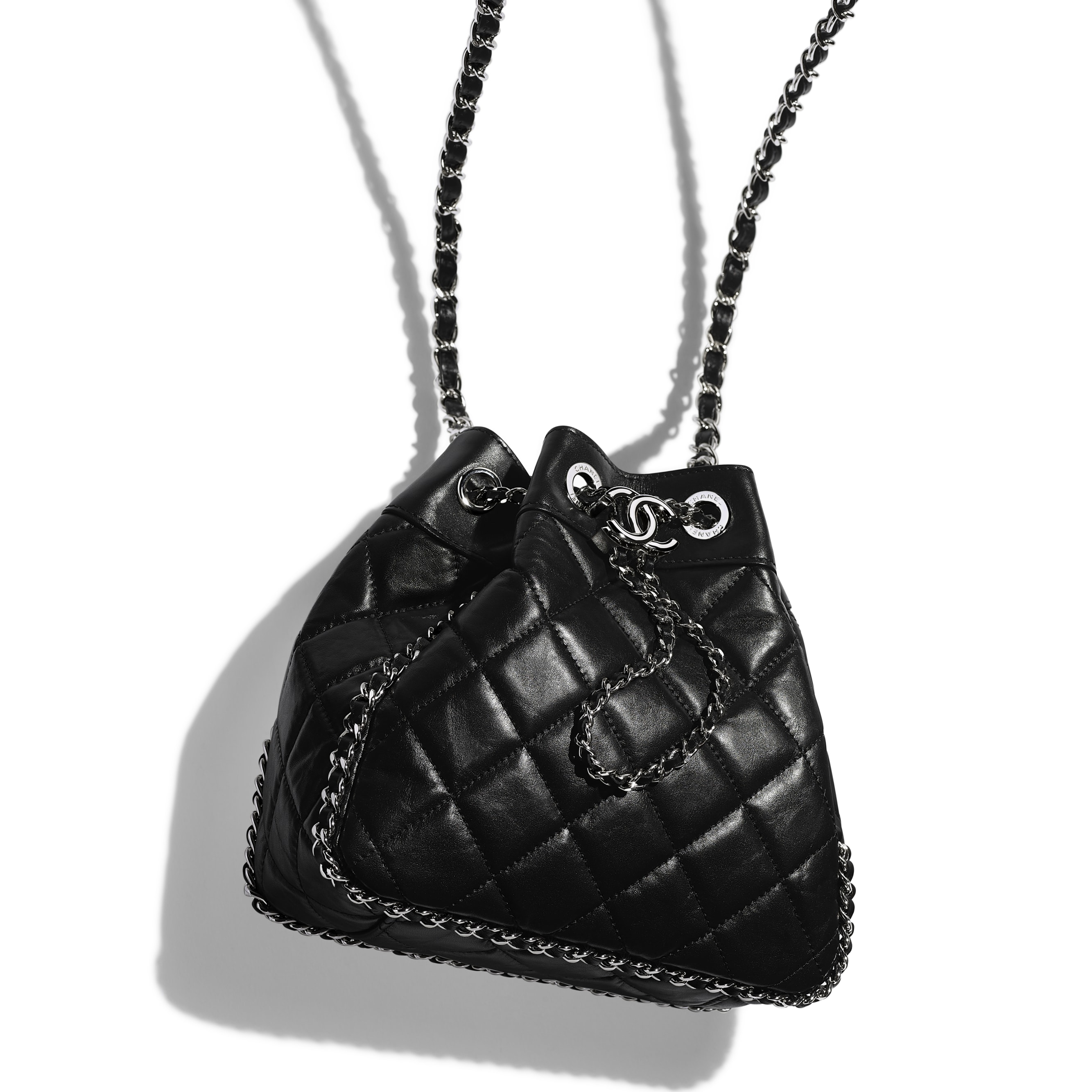 Drawstring Bag - Black - Aged Calfskin & Silver-Tone Metal - CHANEL - Extra view - see standard sized version